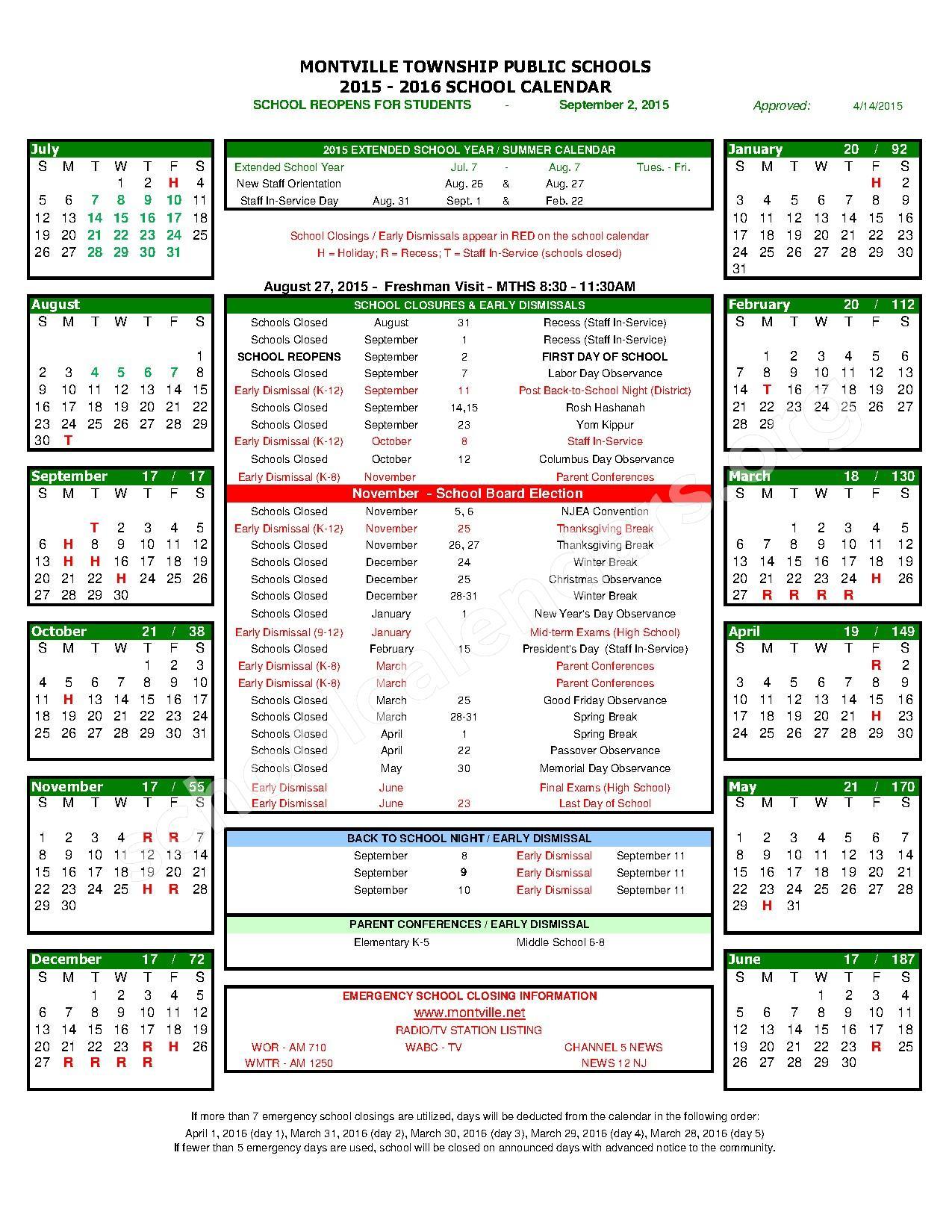 2015 - 2016 Calendar - Short Version – Montville Township School District – page 1