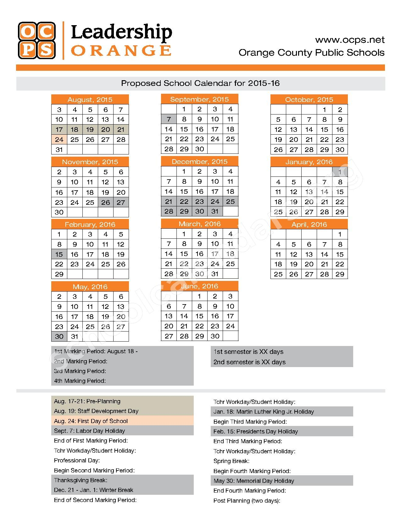 Orange County School Calendar 2017 | Calendar 2017