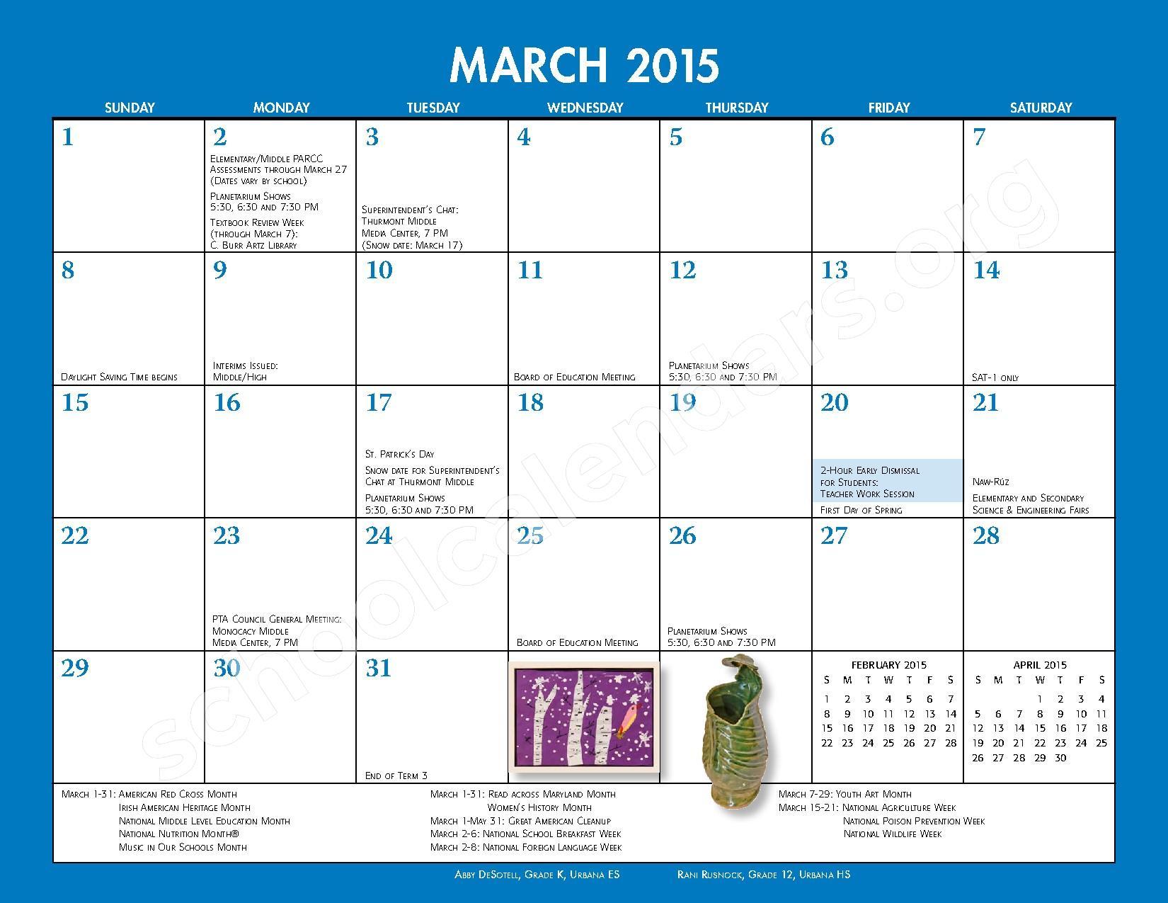 calendar 2014 2015 school calendar monthly handbook contact 191 s east ...