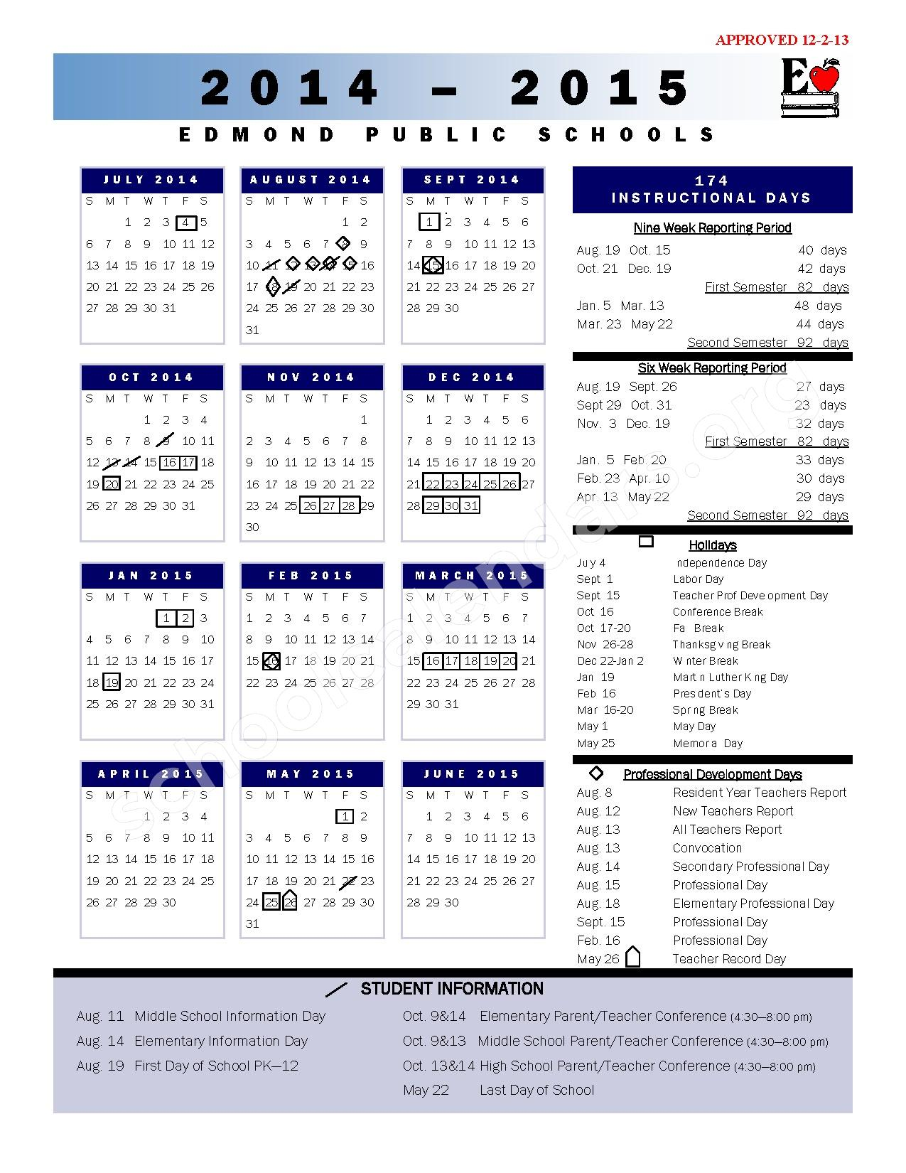 2014 - 2015 School Calendar | Sunset Elementary School – Edmond, OK