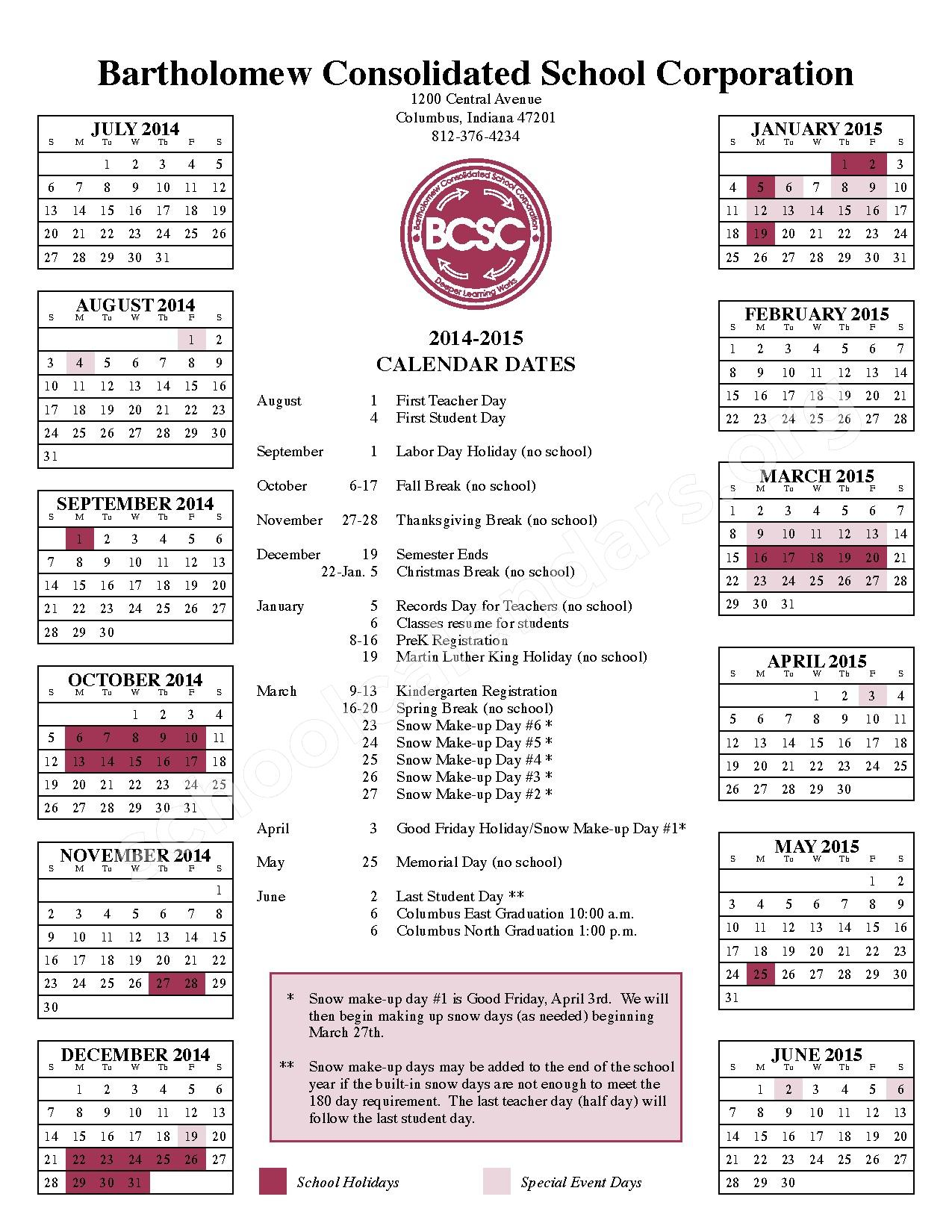 2014 - 2015 School Calendar | Csa Lincoln Campus ...