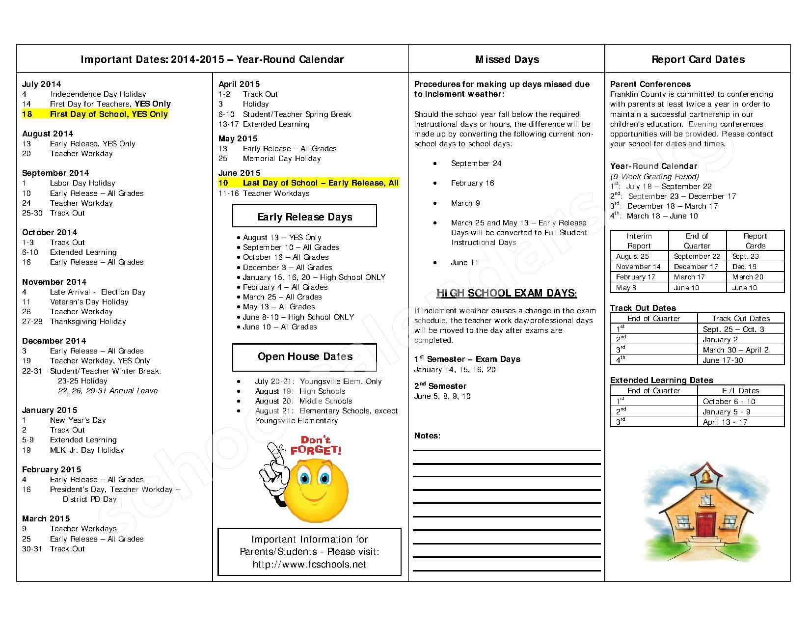 Year Round Calendar Durham Public Schools : Year round school calendar franklin county