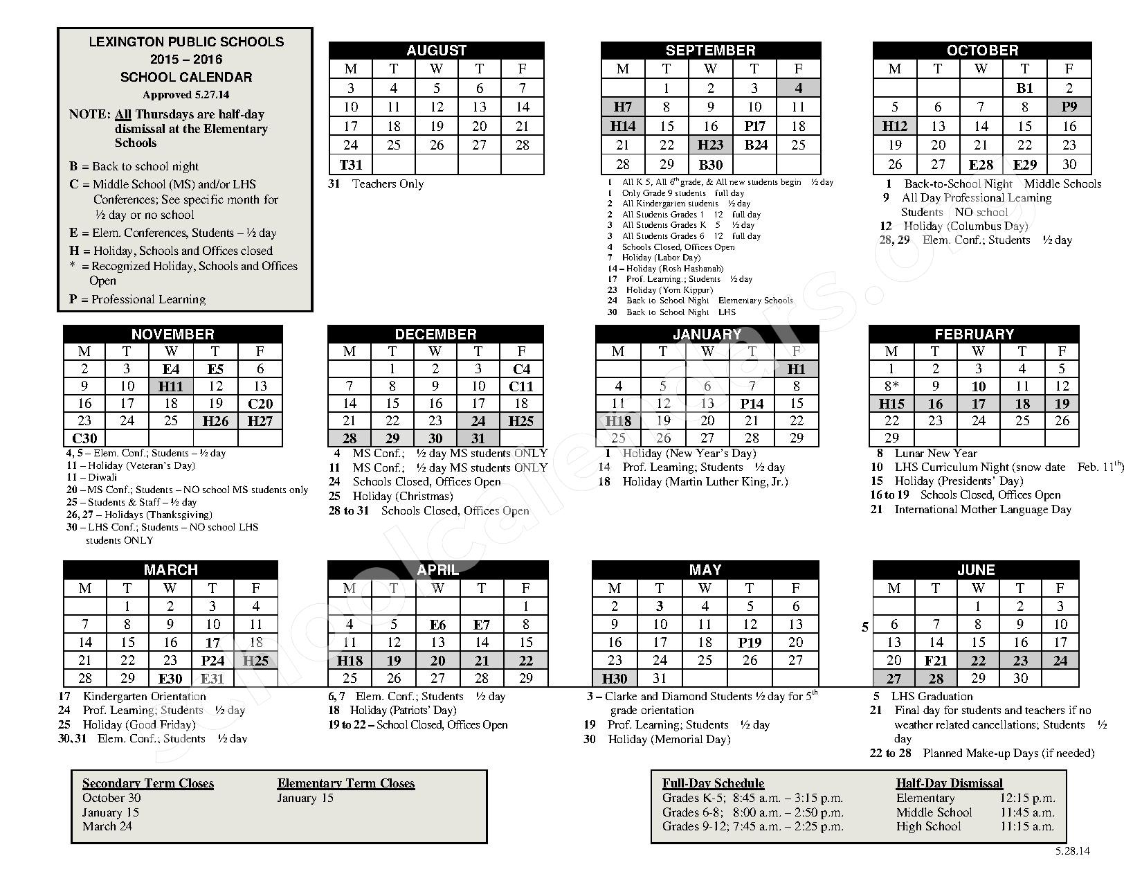 2015 - 2016 School Calendar – Lexington Public Schools – page 1