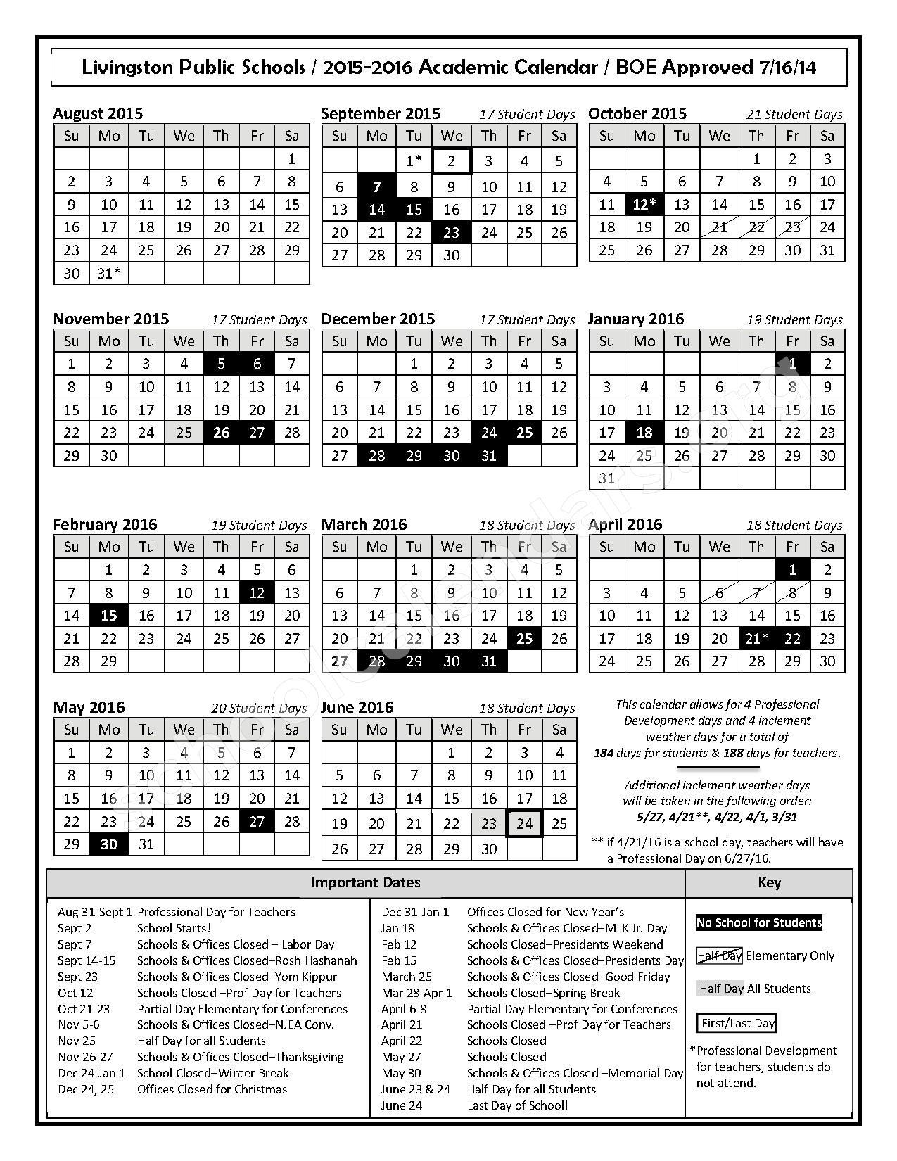 2015 - 2016 Academic Calendar – Livingston Public Schools – page 1