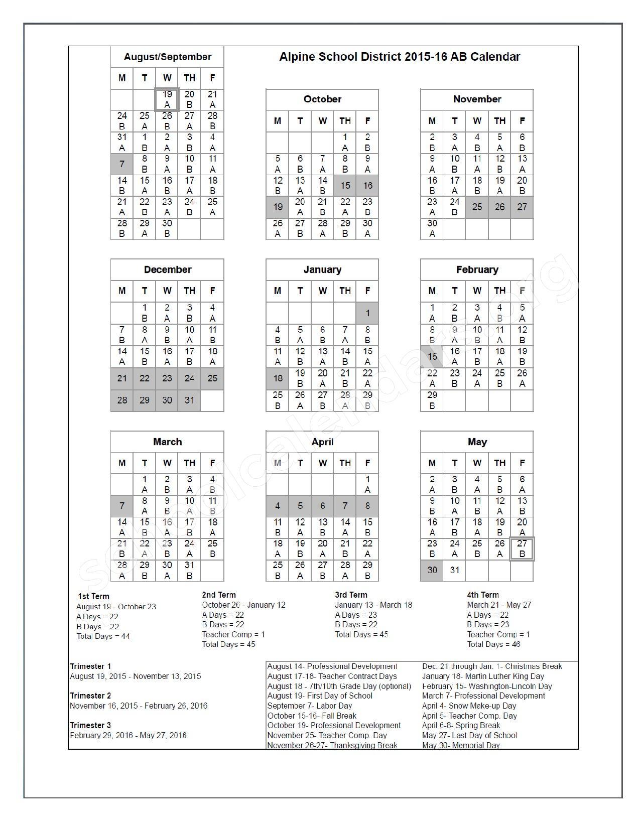 Alpine School District Calendar 2017   Calendar 2017