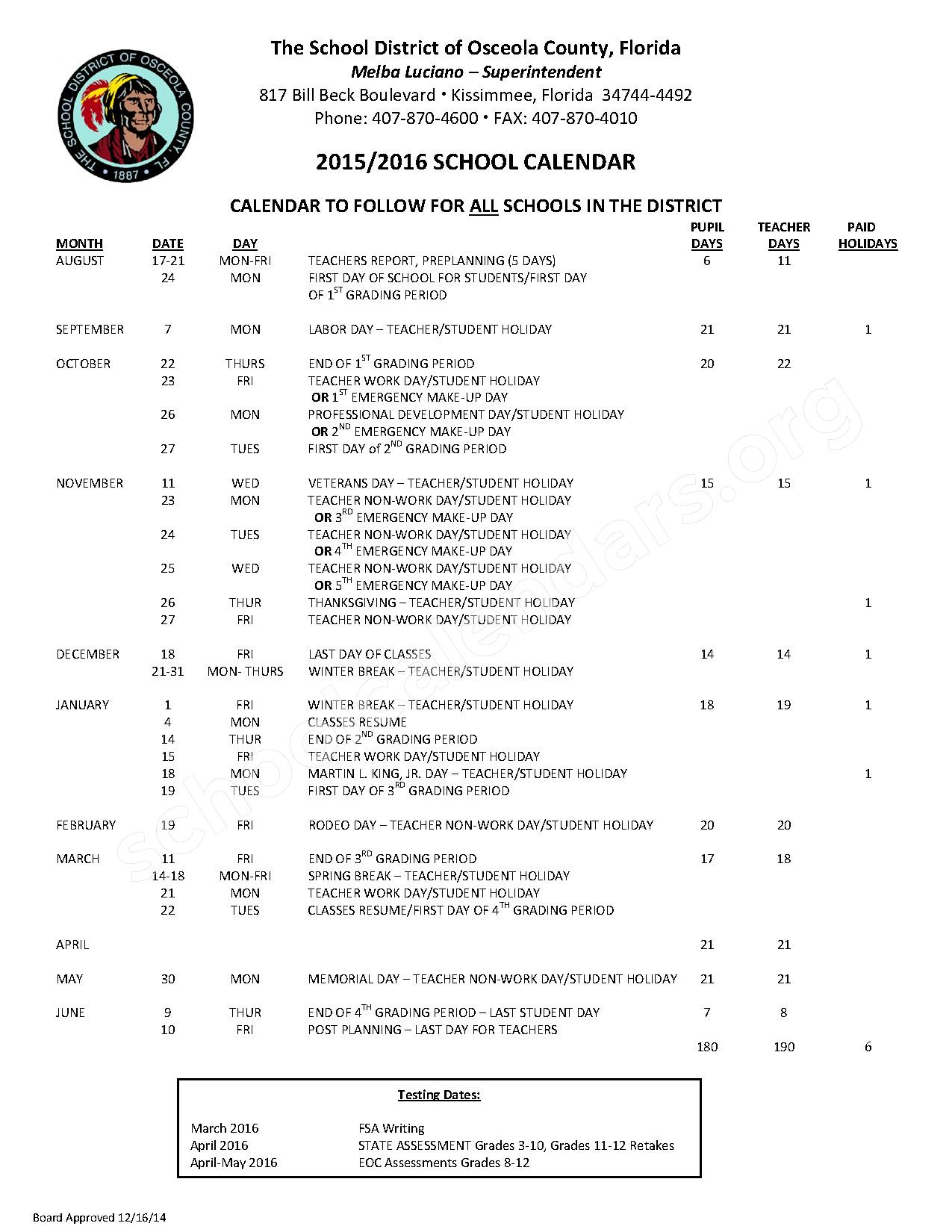 Osceola School Calendar 2017 | Calendar 2017