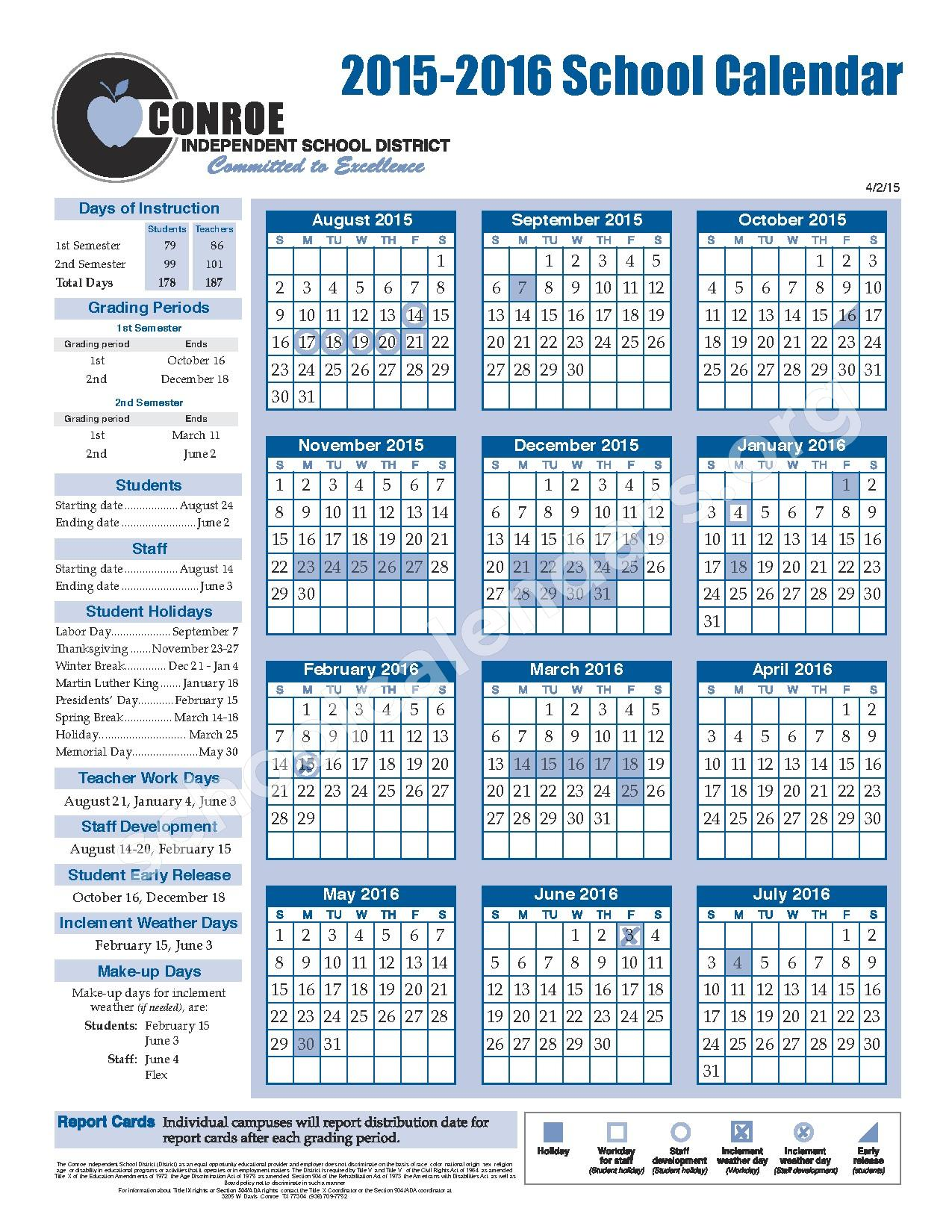 Calendar Woodlands : Mccullough junior high school calendars the woodlands tx