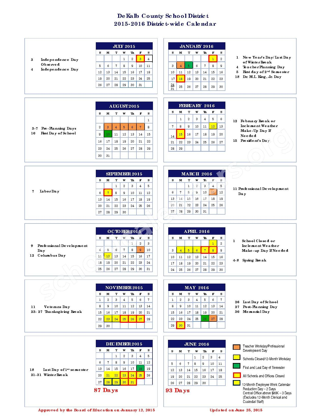 2015 - 2016 District Calendar – Dekalb County School District – page 1