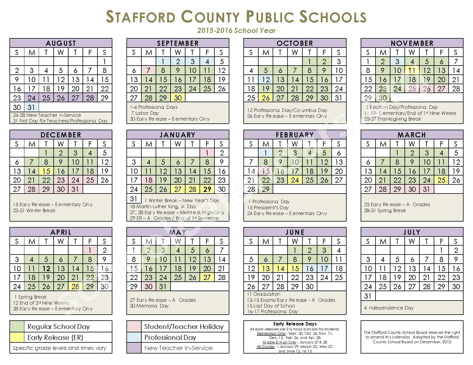 2015 - 2016 School Calendar – Stafford County Public Schools – page 1