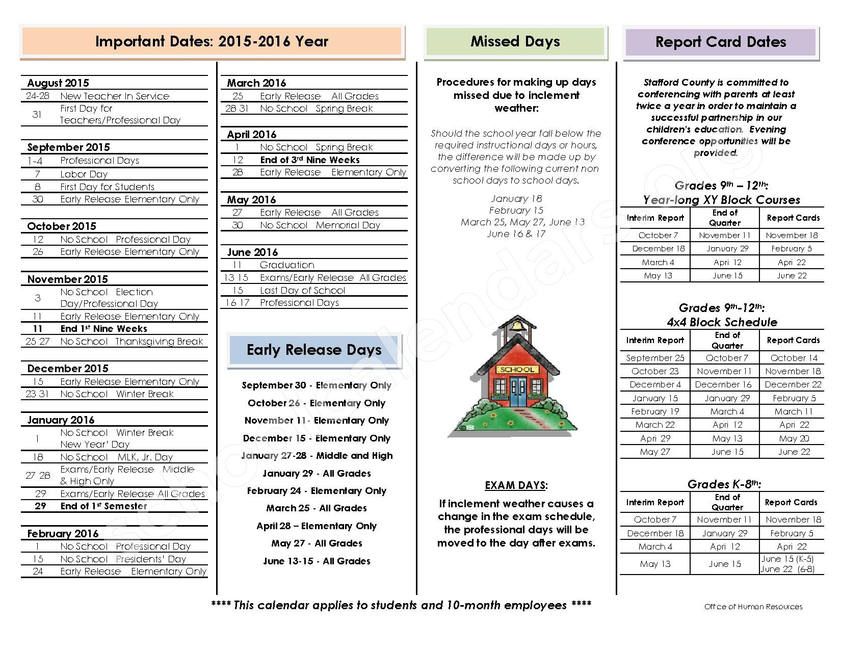 2015 - 2016 School Calendar – Stafford County Public Schools – page 2