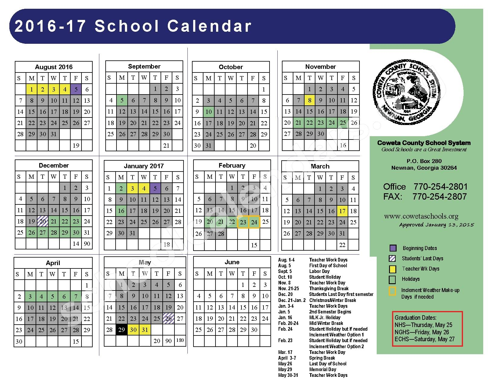 2016 - 2017 District Calendar – Coweta County School System – page 1