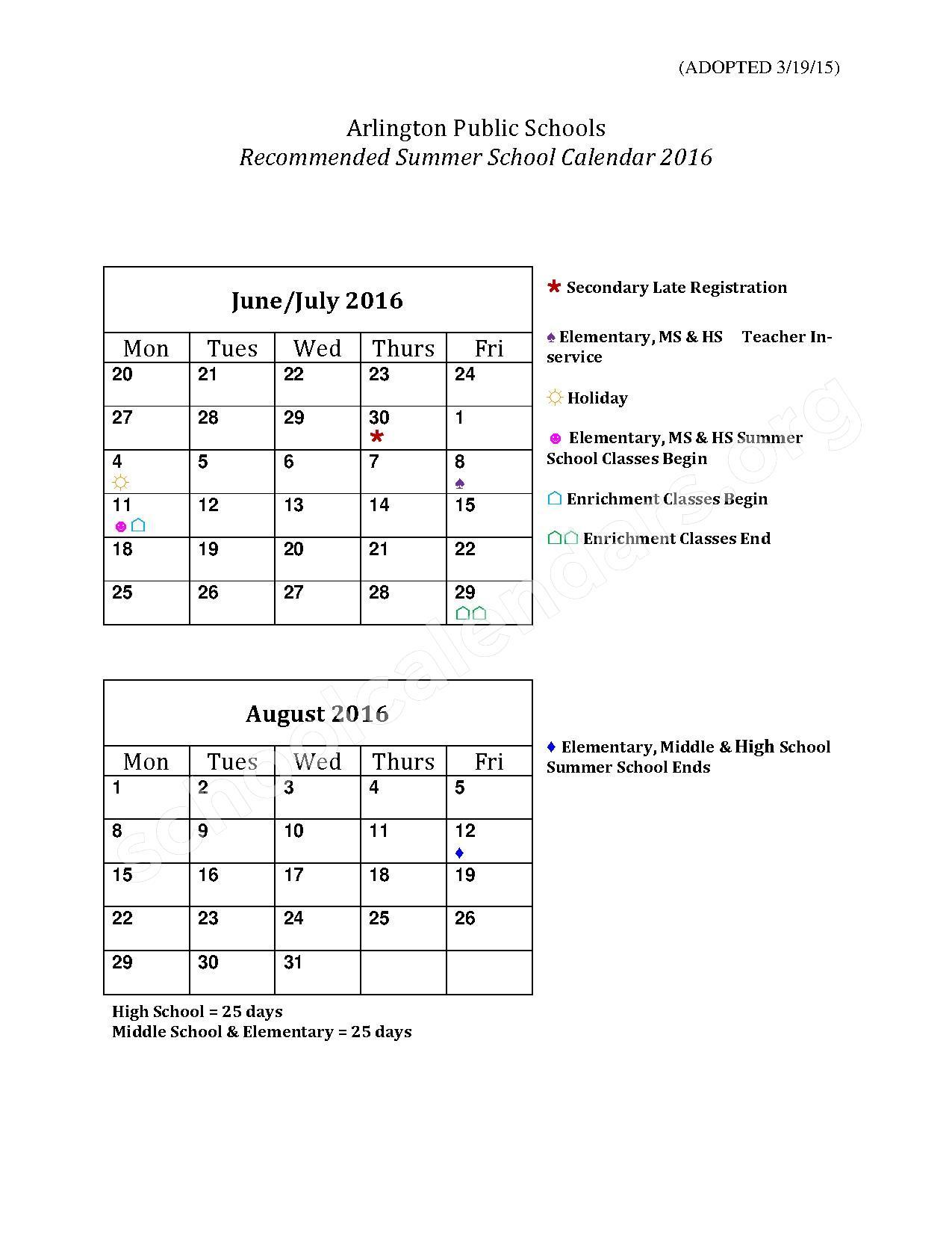 2016 Summer School Calendar – Arlington County Public Schools – page 1