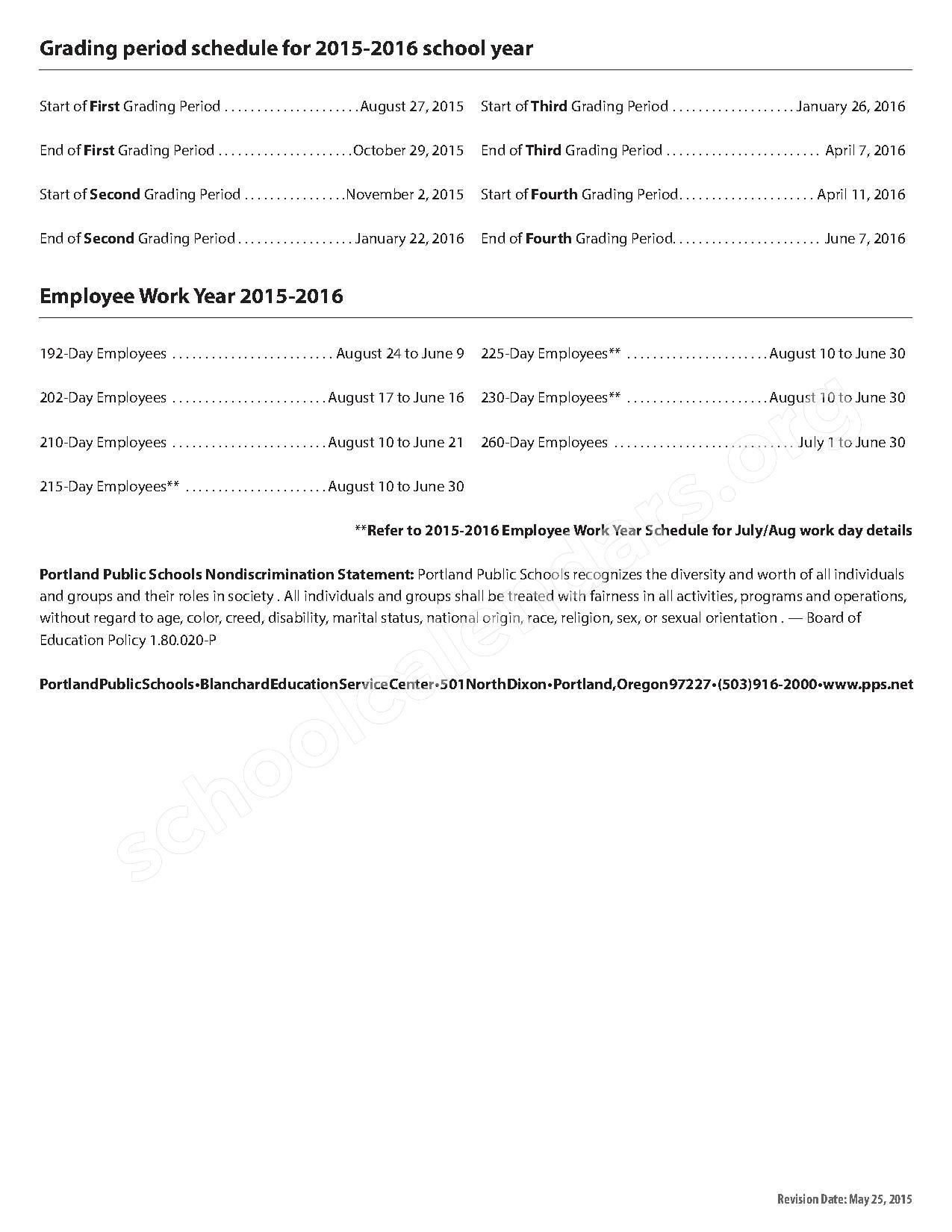 2015 - 2016 Quarter School Calendar – Portland Public Schools – page 2