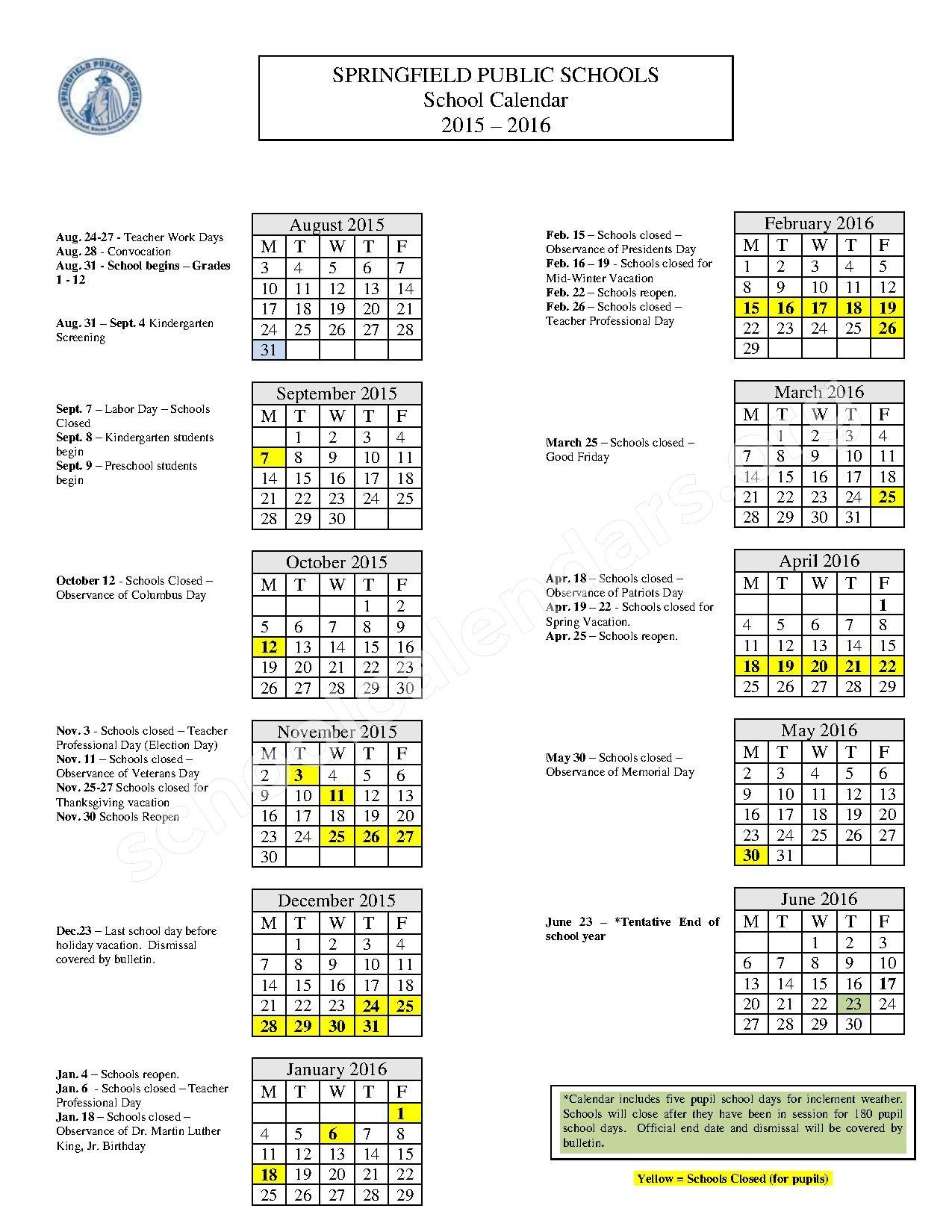 2015 - 2016 School Calendar – Springfield Public Schools – page 1
