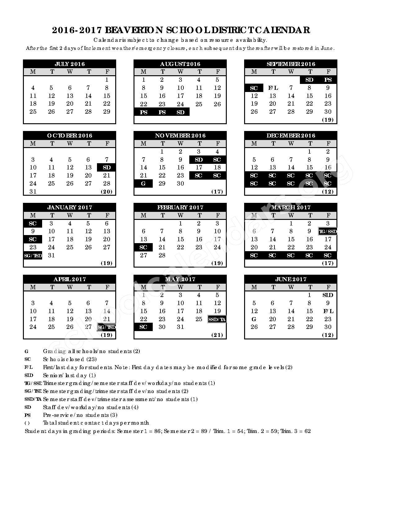 2016 - 2017 School Calendar – Beaverton School District – page 1