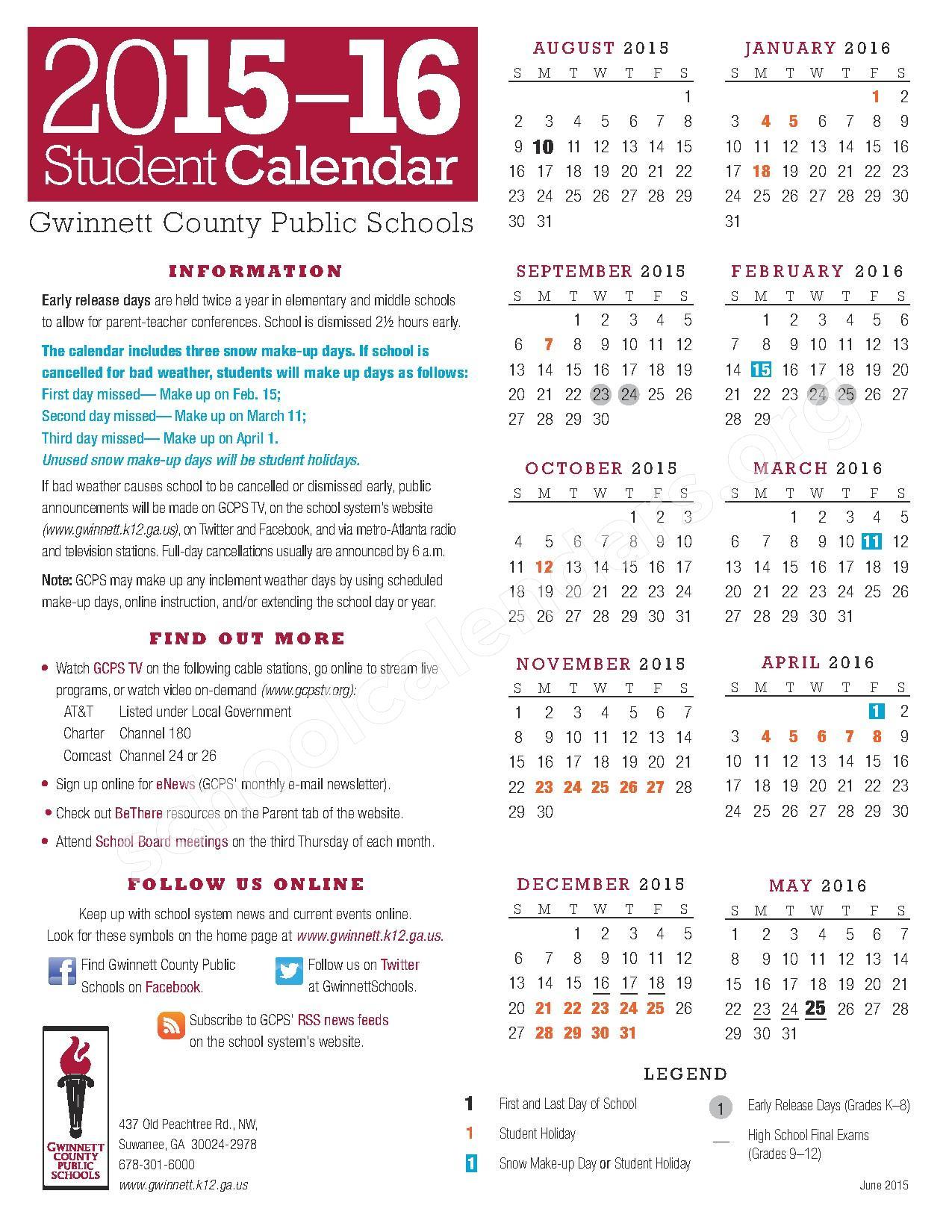 2015 - 2016 School Calendar – Gwinnett County School District – page 1