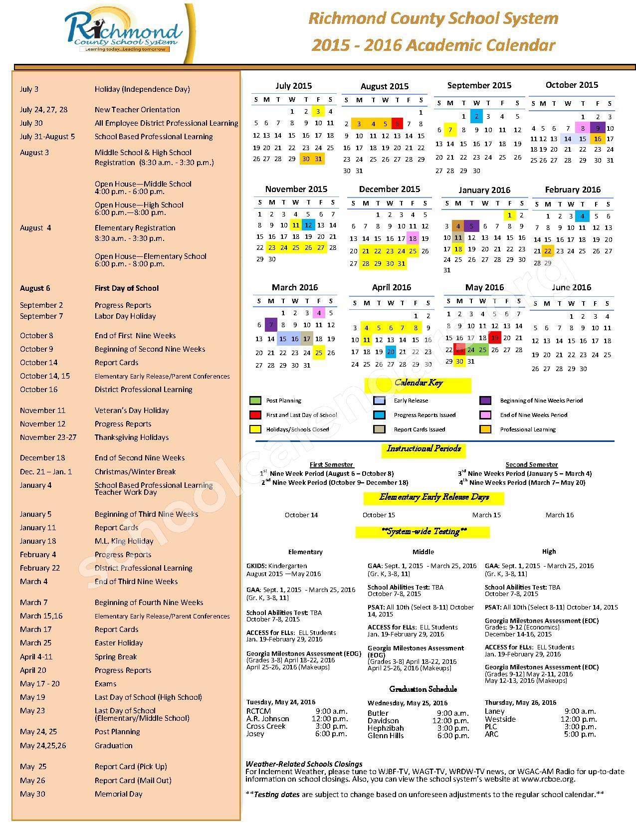 2015 - 2016 School Calendar – Richmond County School District – page 1