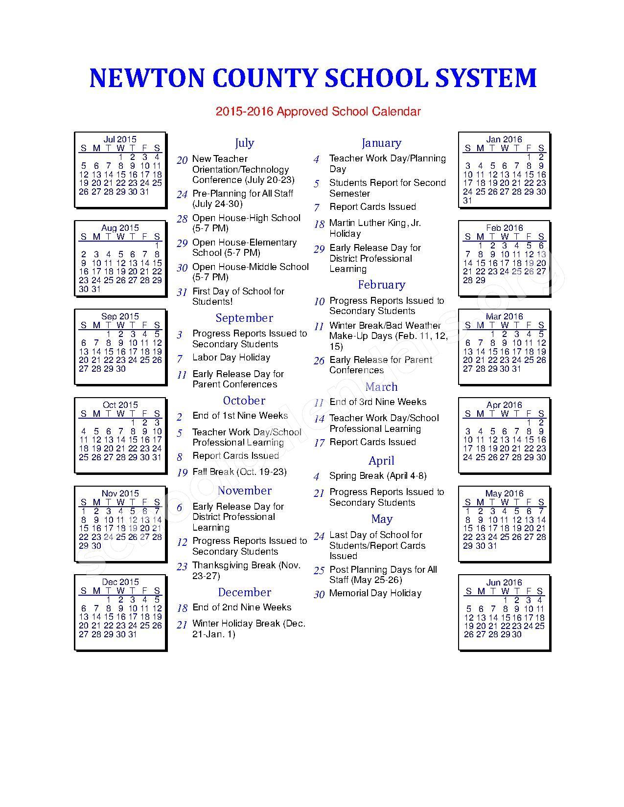 2015 - 2016 School Calendar – Newton County School District – page 1