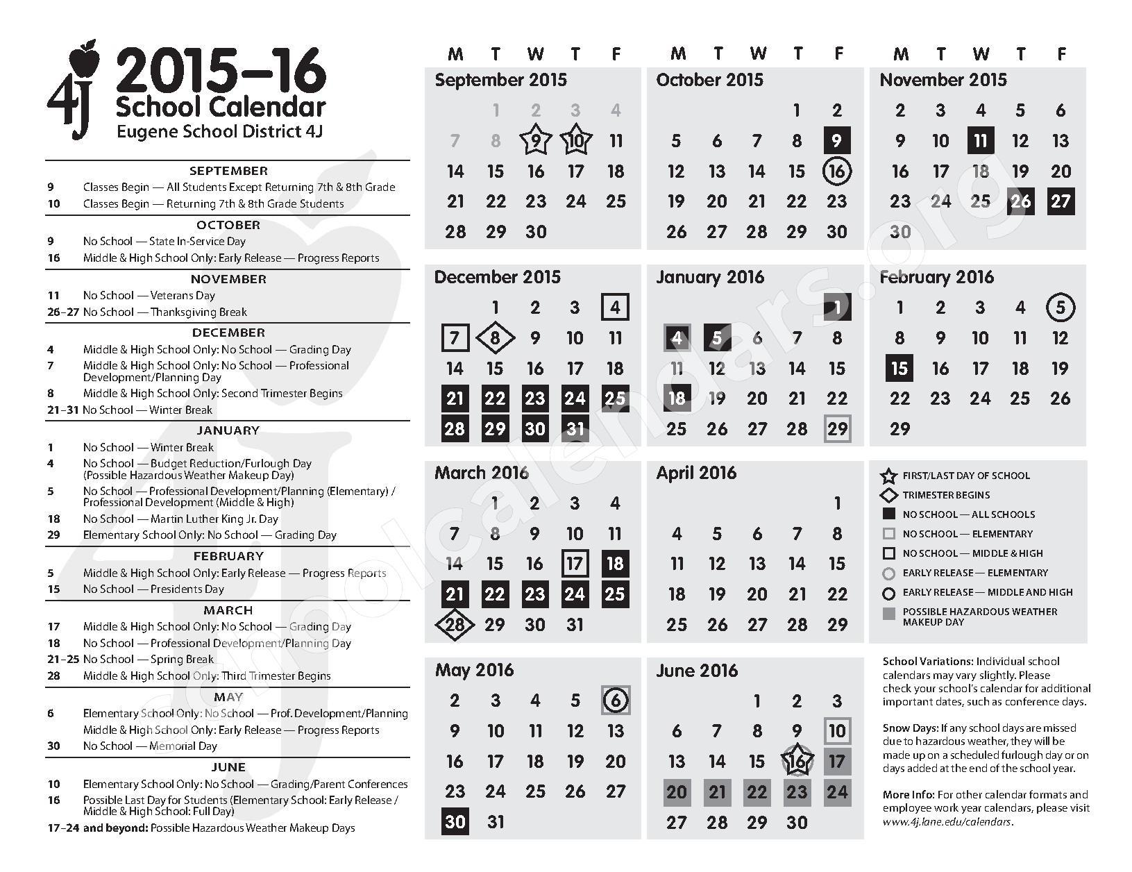 2015 - 2016 School Calendar – Eugene School District – page 1