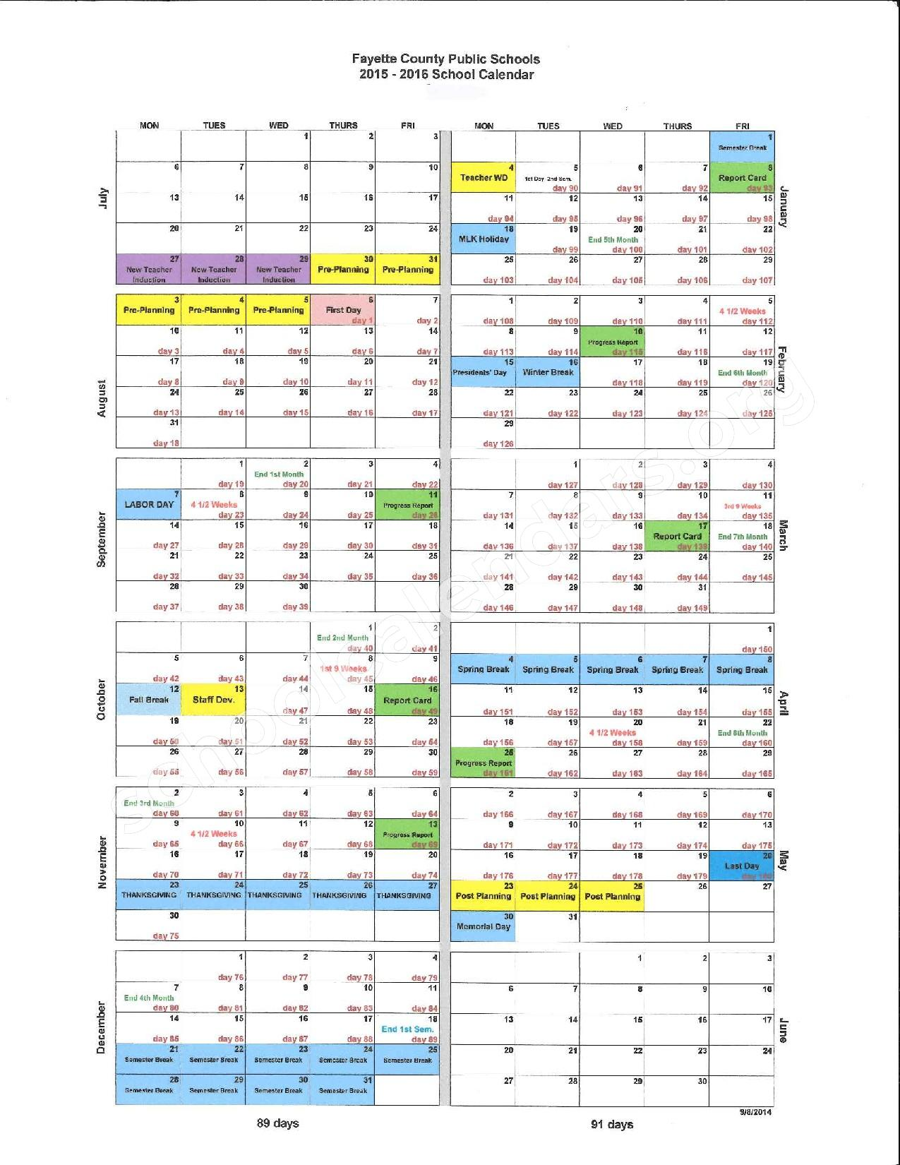 2015 - 2016 District Calendar – Fayette County School District – page 1