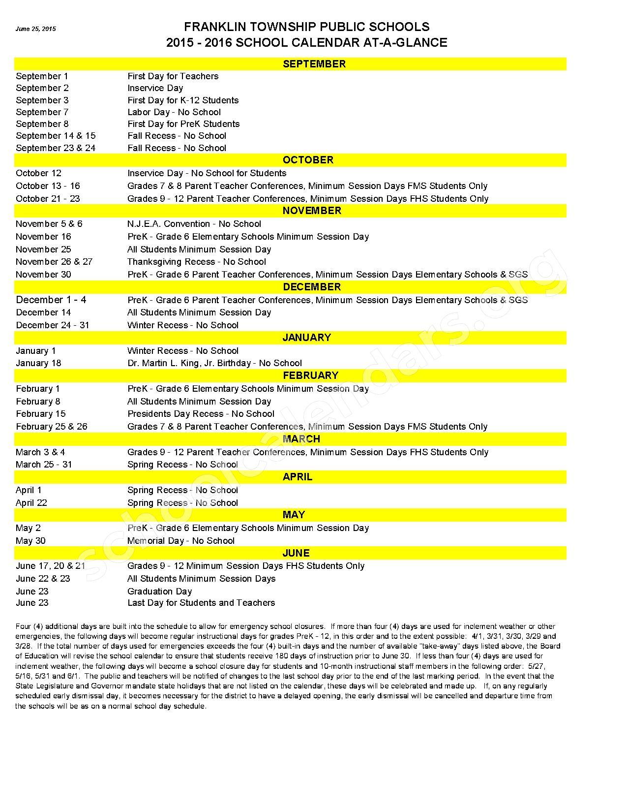 2015 - 2016 School Calendar – Franklin Township Public Schools – page 1