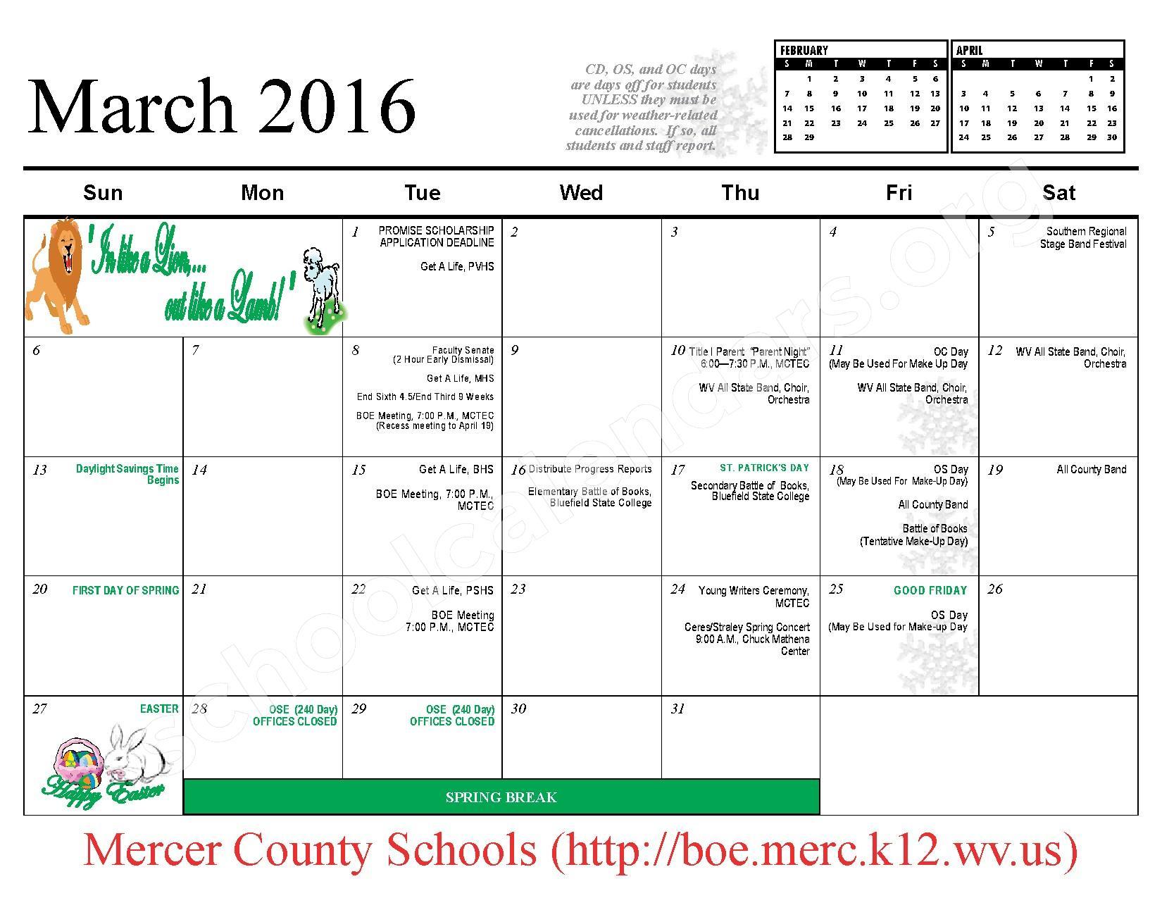 2015 - 2016 School Calendar – Mercer County Schools – page 10