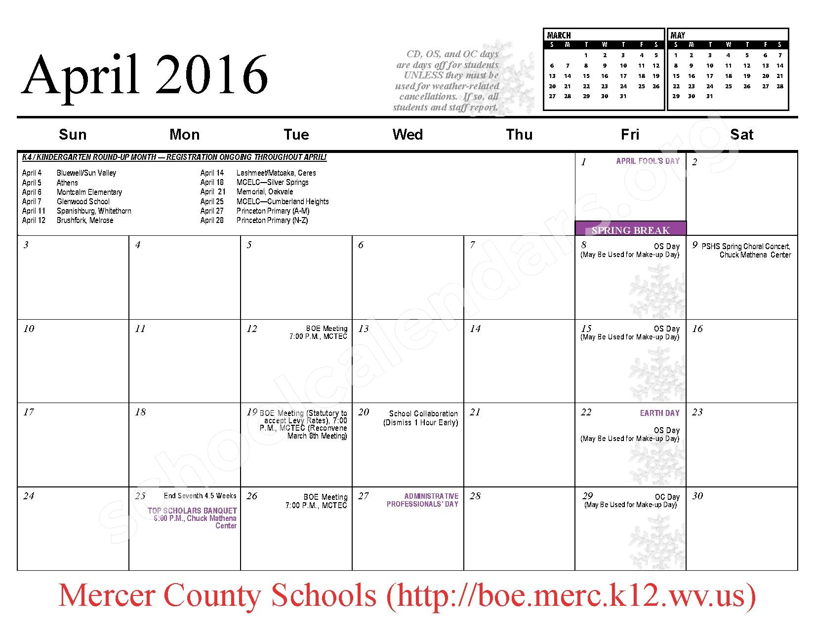 2015 - 2016 School Calendar – Mercer County Schools – page 11