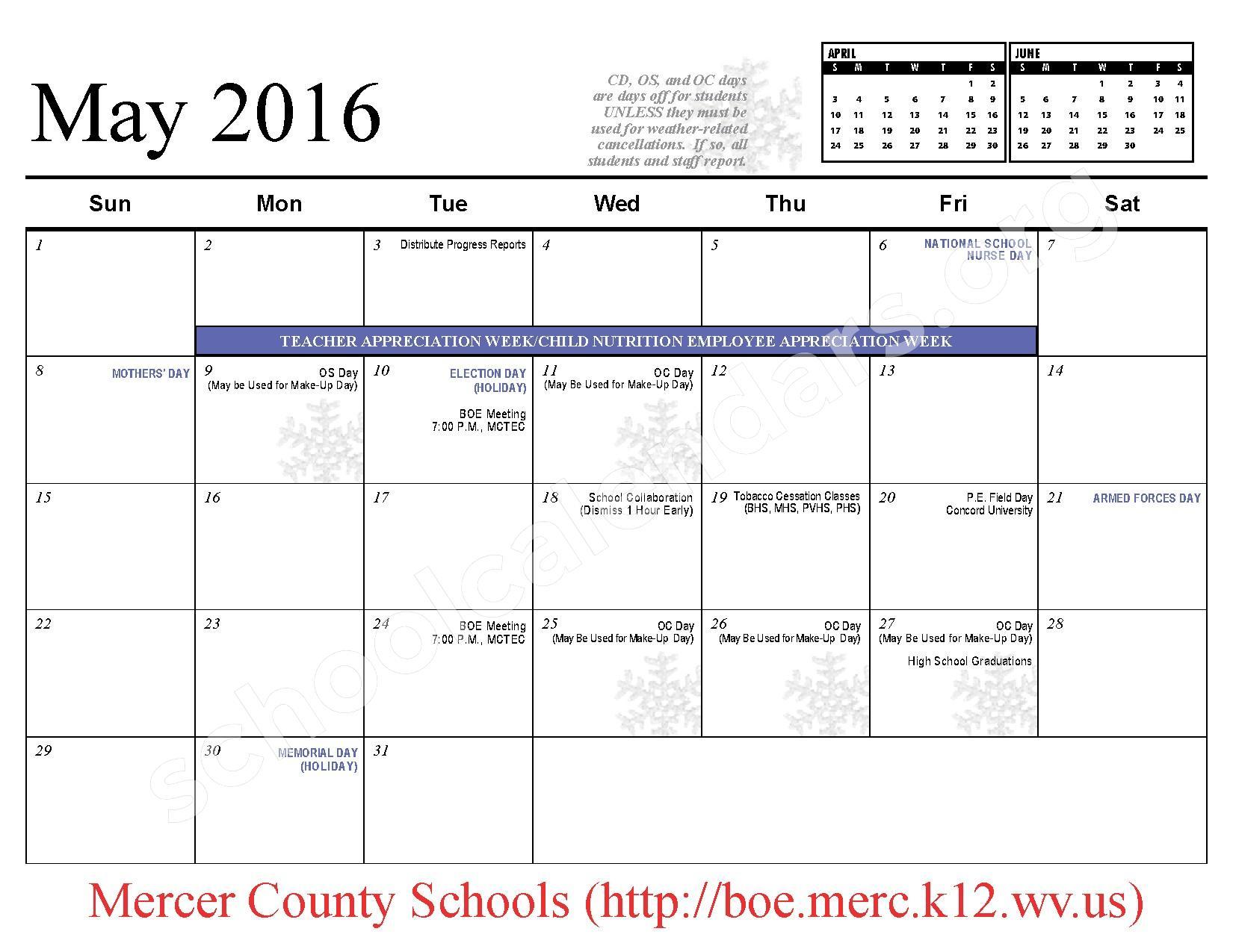 2015 - 2016 School Calendar – Mercer County Schools – page 12