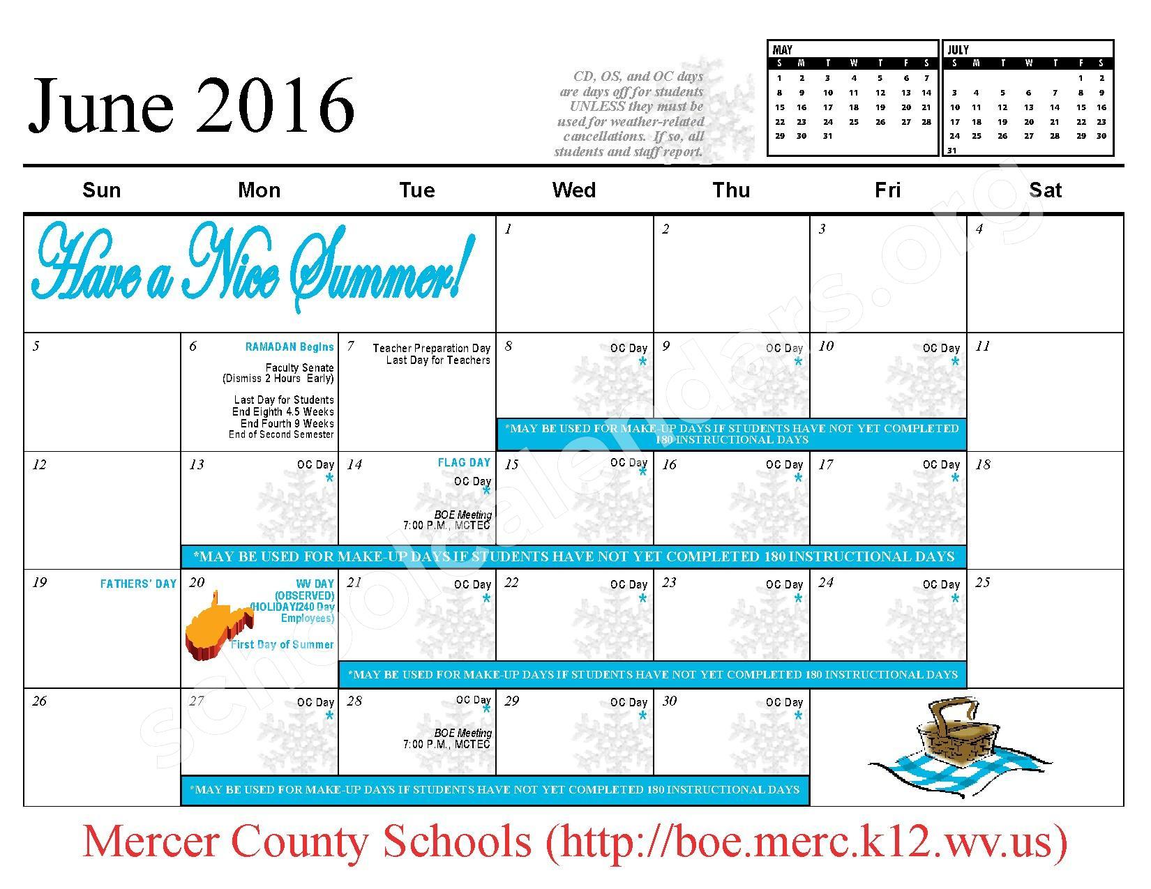 2015 - 2016 School Calendar – Mercer County Schools – page 13