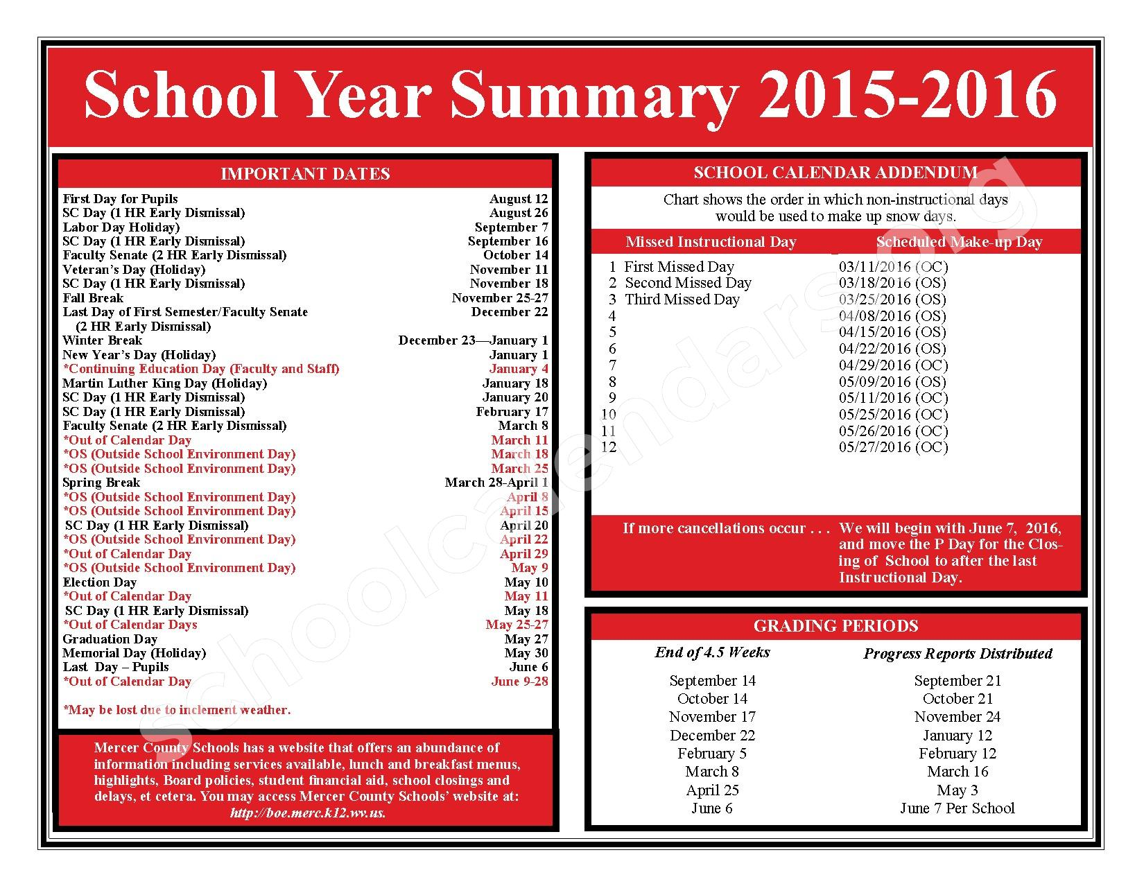 2015 - 2016 School Calendar – Mercer County Schools – page 2