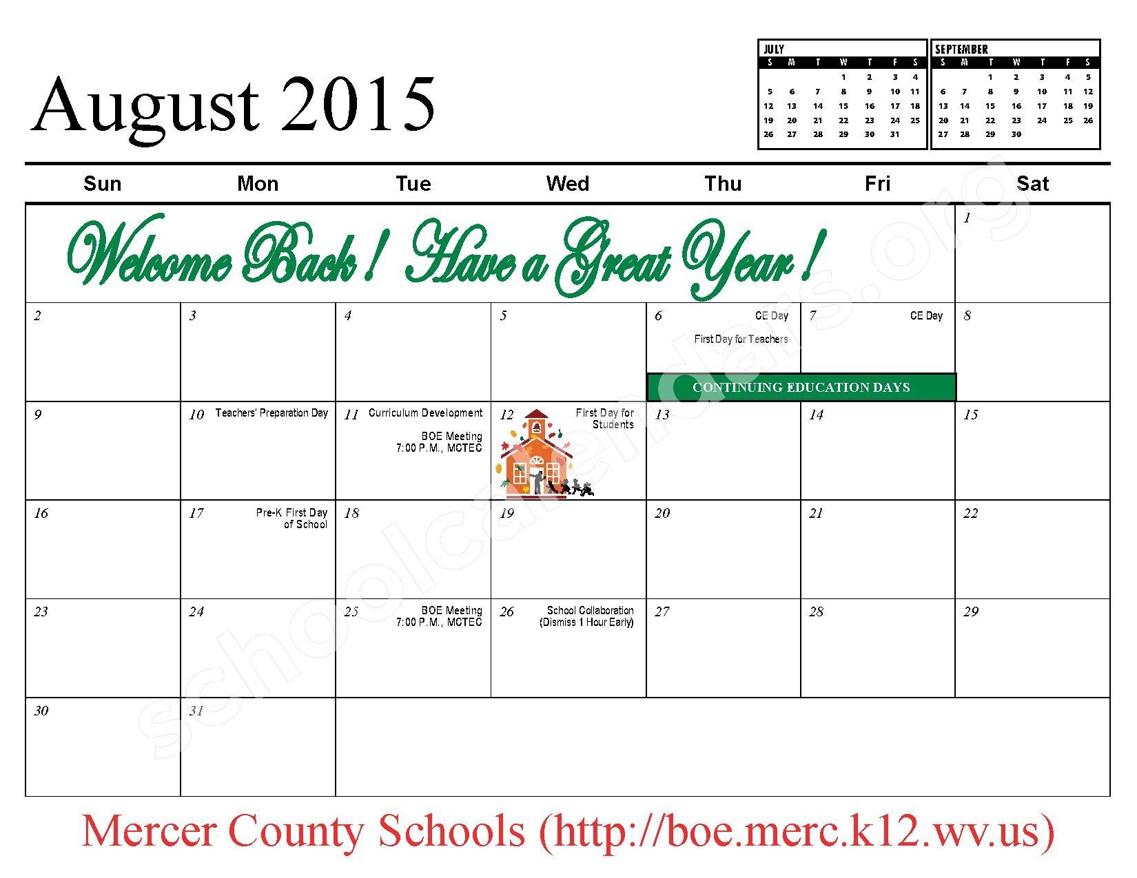 2015 - 2016 School Calendar – Mercer County Schools – page 3