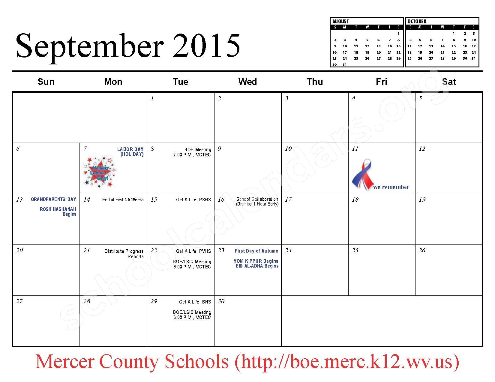 2015 - 2016 School Calendar – Mercer County Schools – page 4