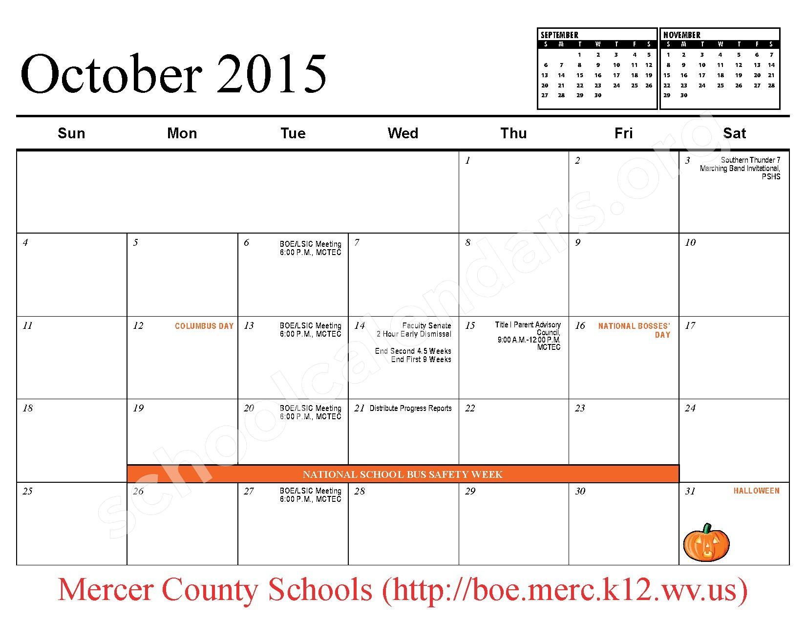 2015 - 2016 School Calendar – Mercer County Schools – page 5