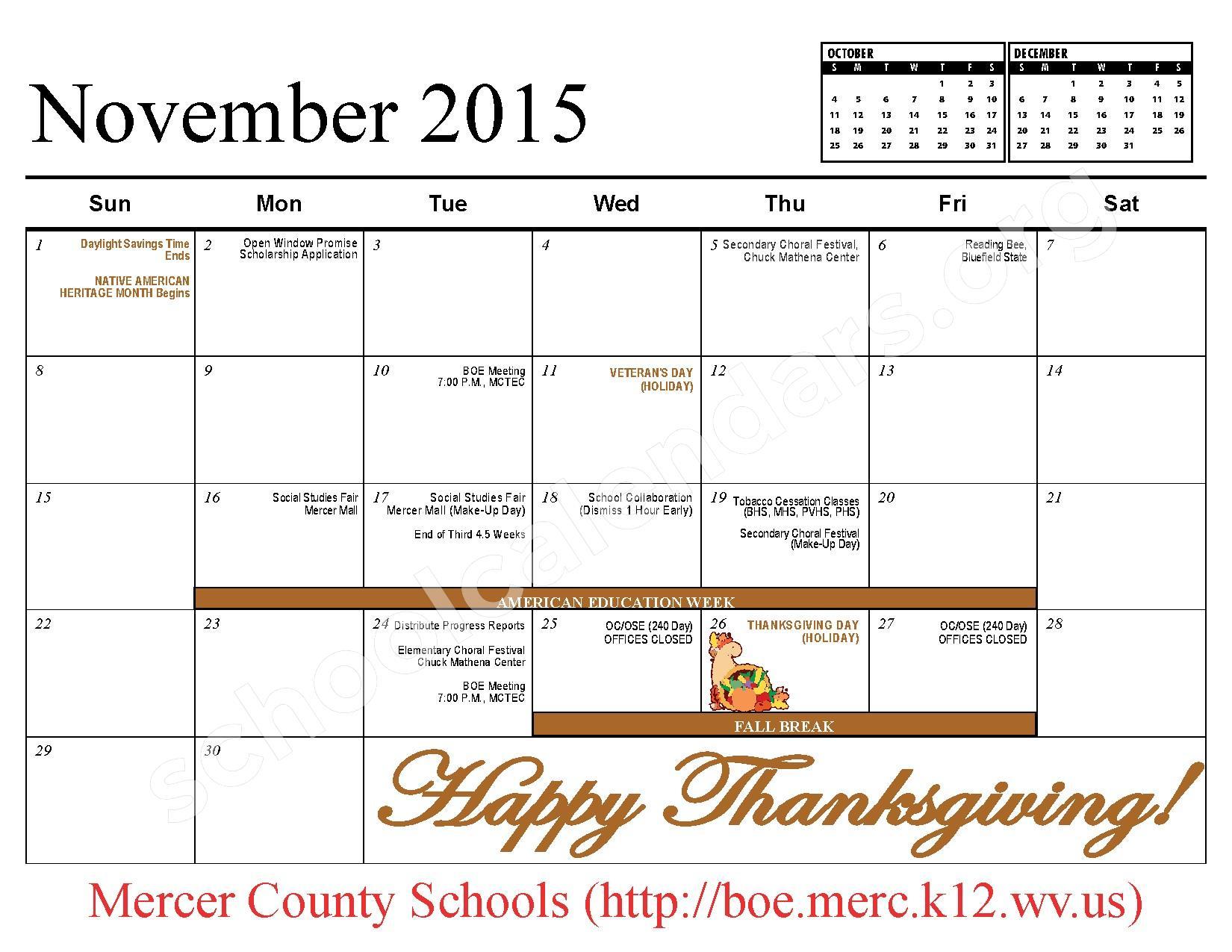 2015 - 2016 School Calendar – Mercer County Schools – page 6
