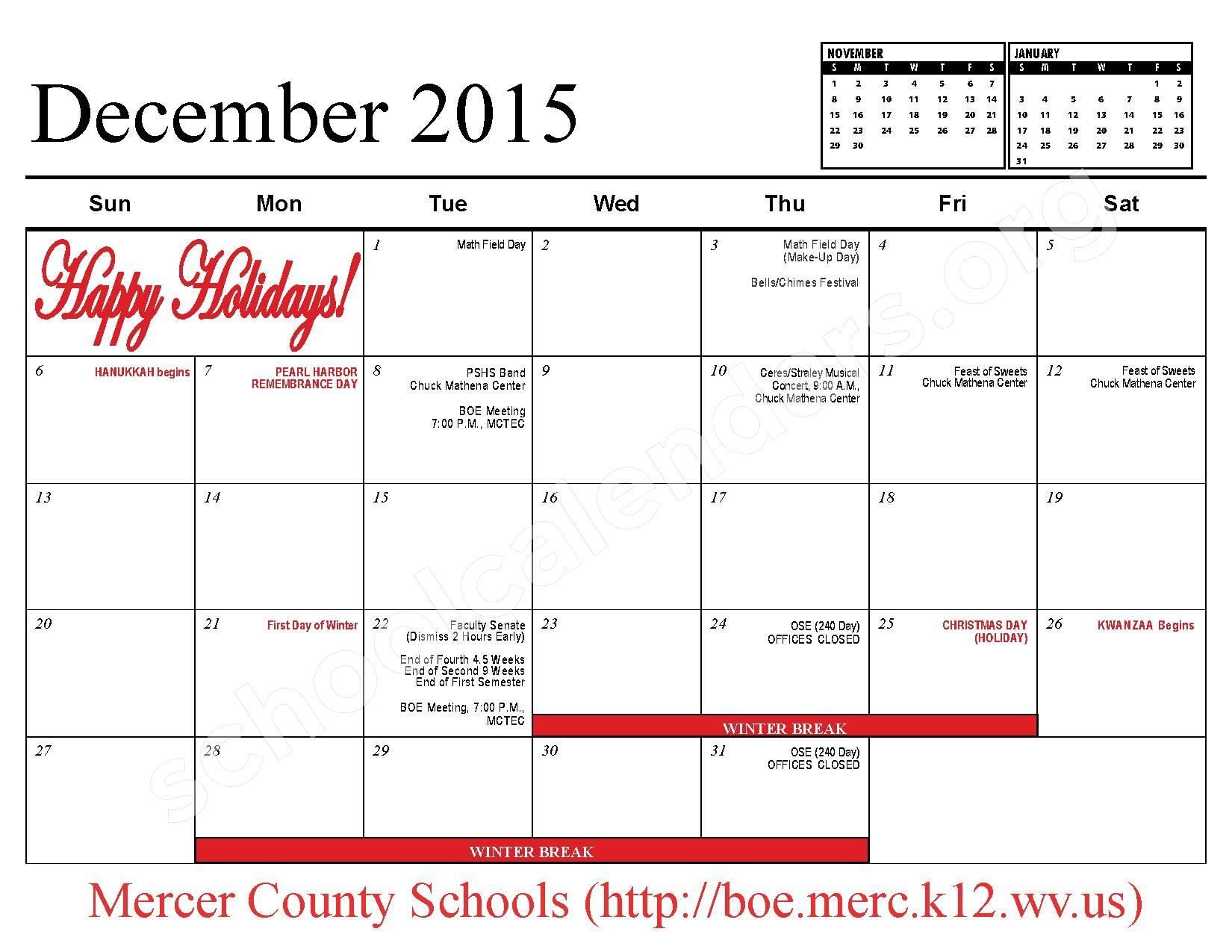 2015 - 2016 School Calendar – Mercer County Schools – page 7