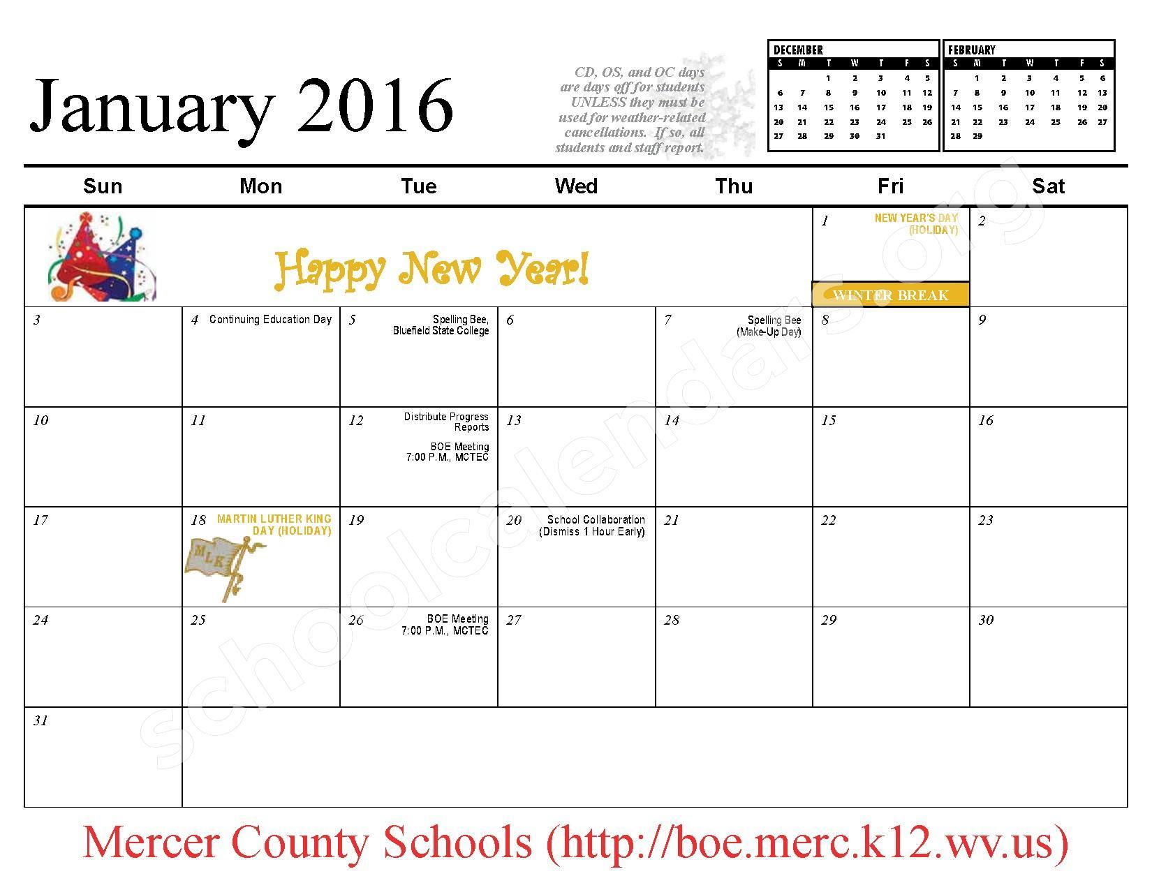 2015 - 2016 School Calendar – Mercer County Schools – page 8