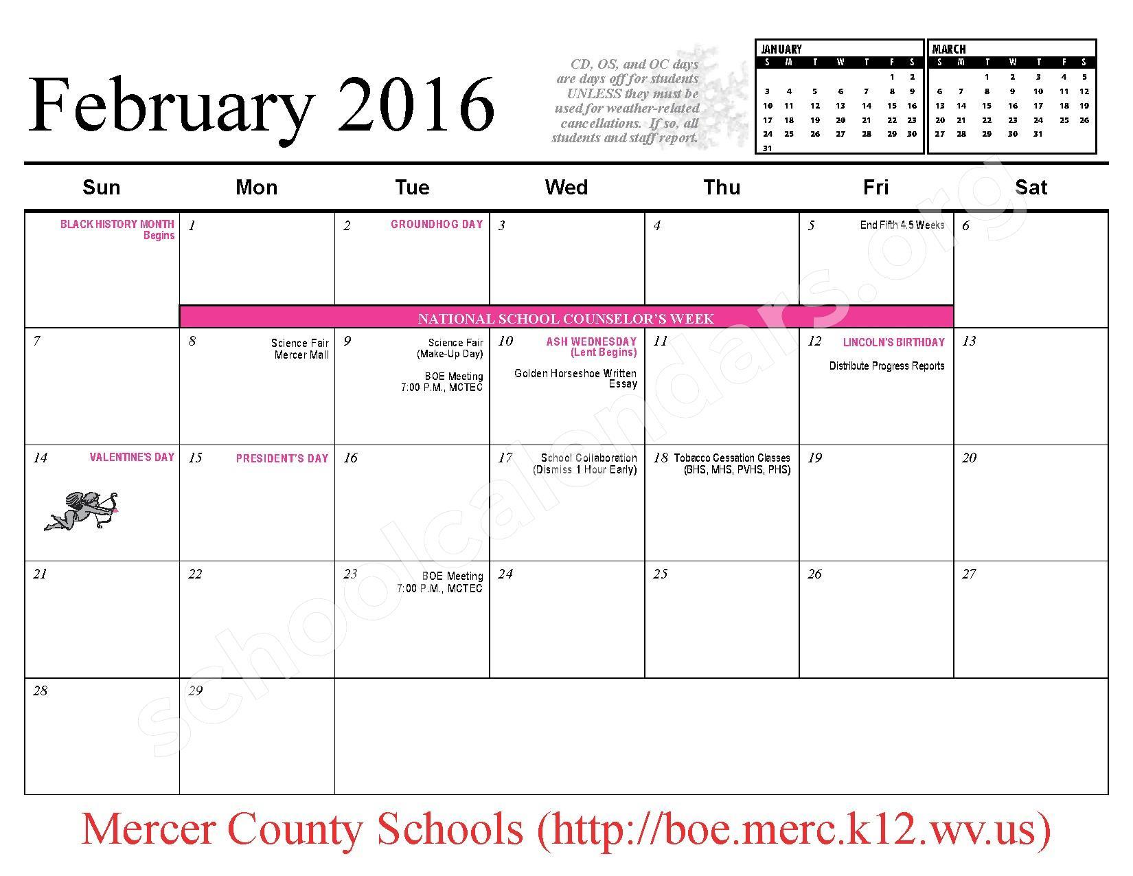 2015 - 2016 School Calendar – Mercer County Schools – page 9