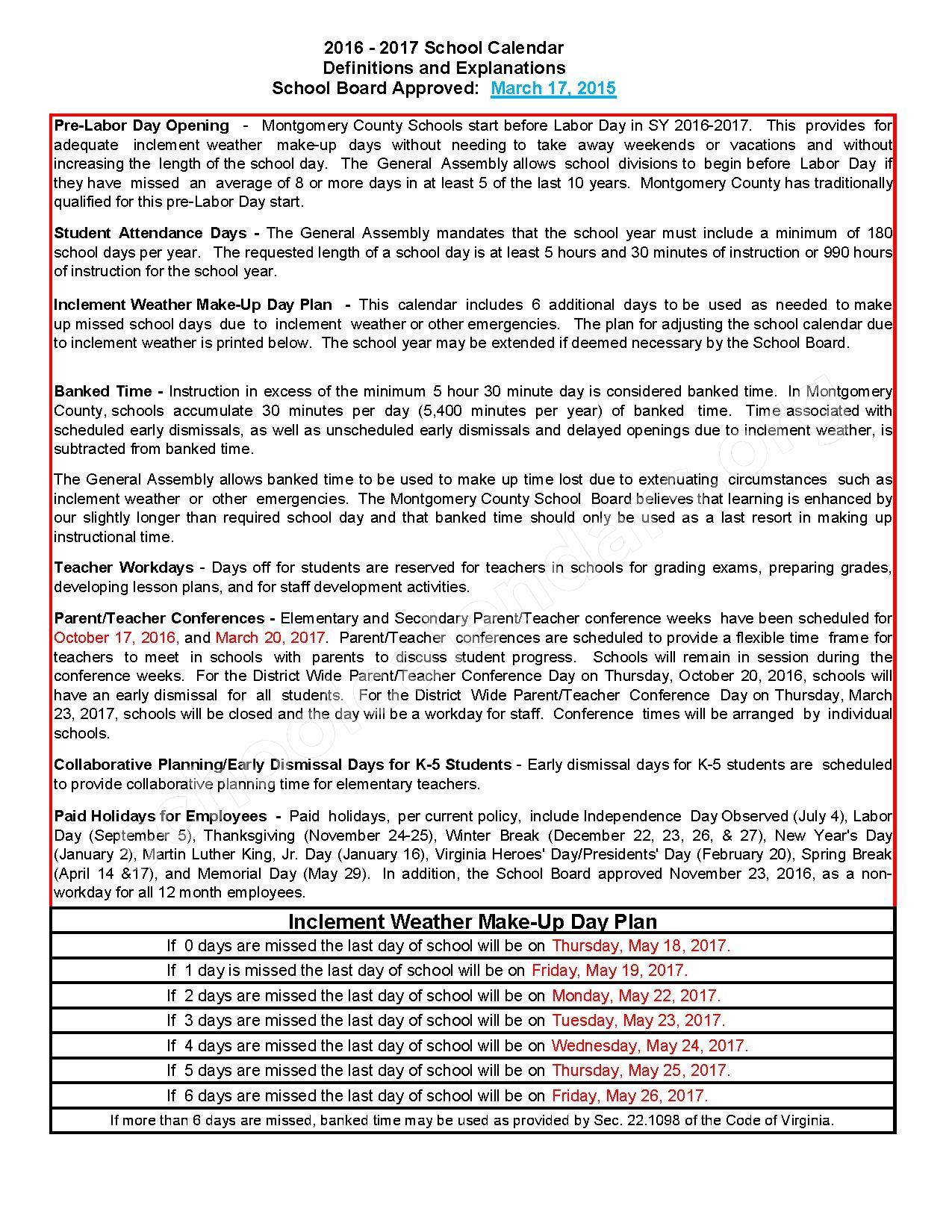 2016 - 2017 School Calendar – Montgomery County Public Schools – page 2