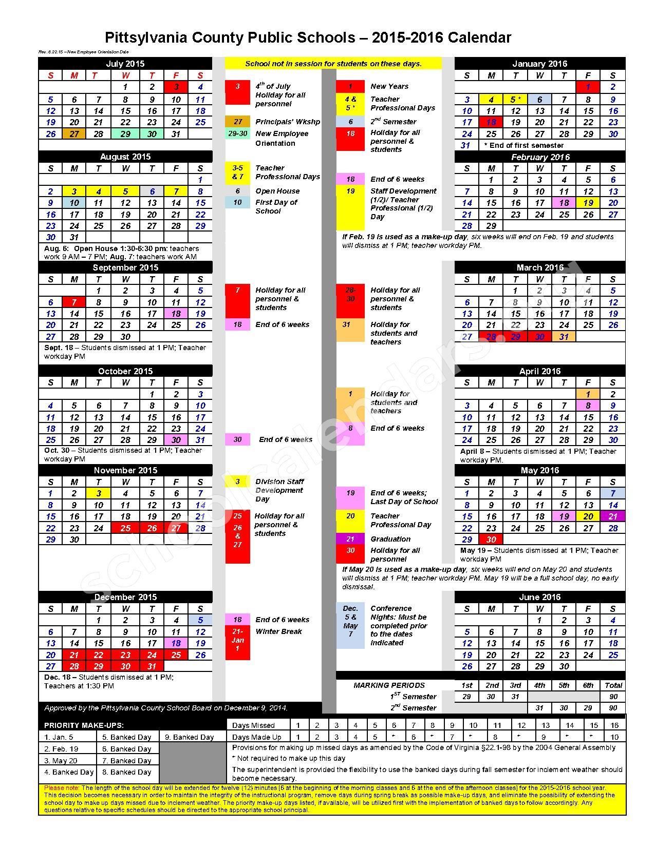 2015 - 2016 School Calendar – Pittsylvania County Public Schools – page 1