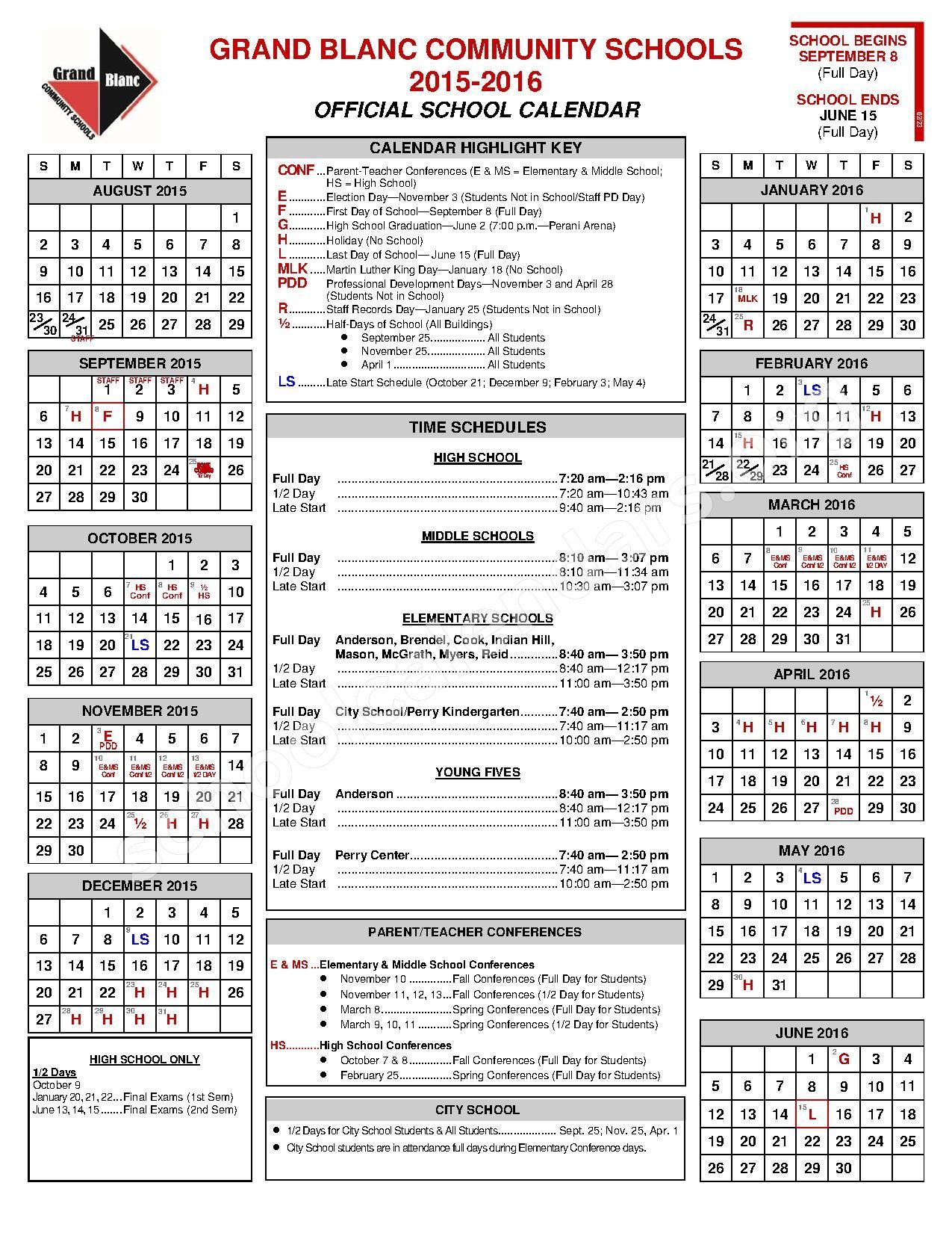 2015 - 2016 School Calendar – Grand Blanc Community Schools – page 1
