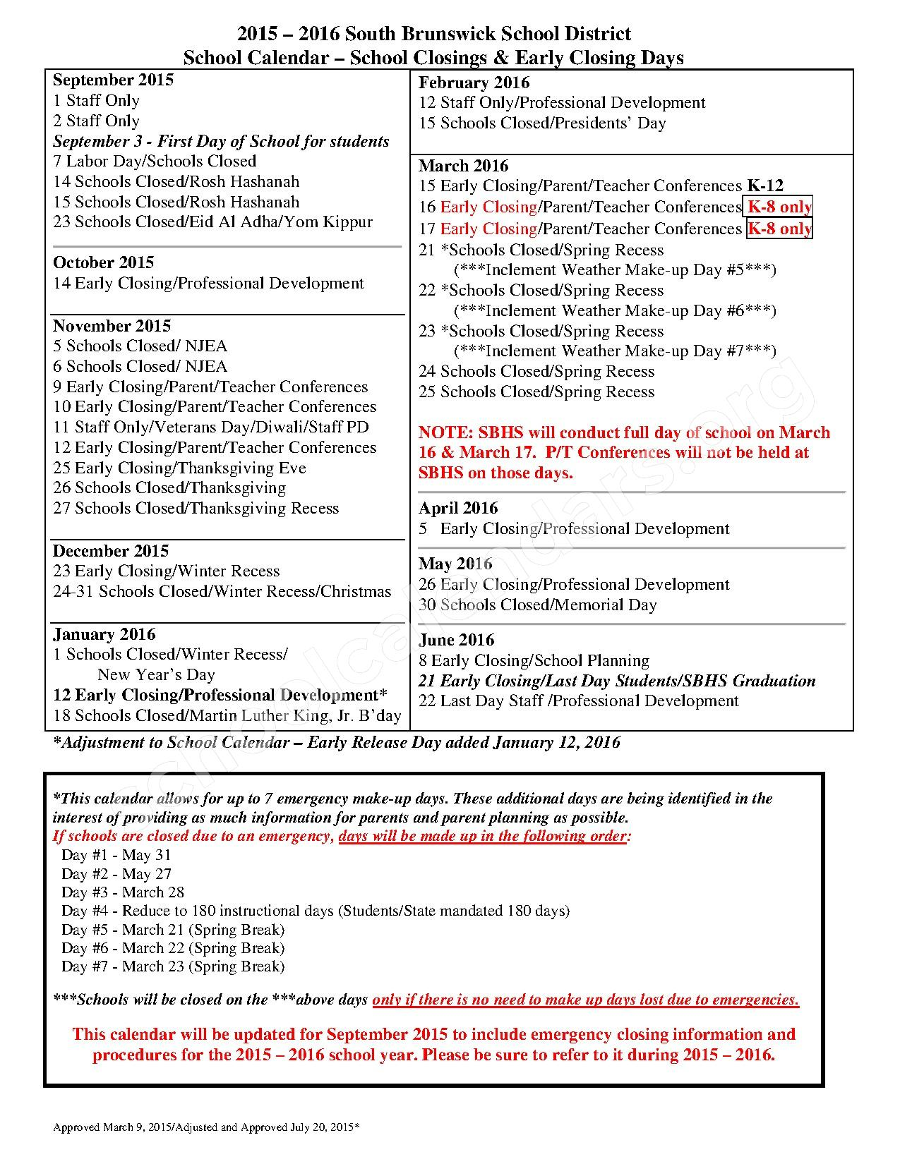 2015 - 2016 School Calendar – South Brunswick School District – page 1