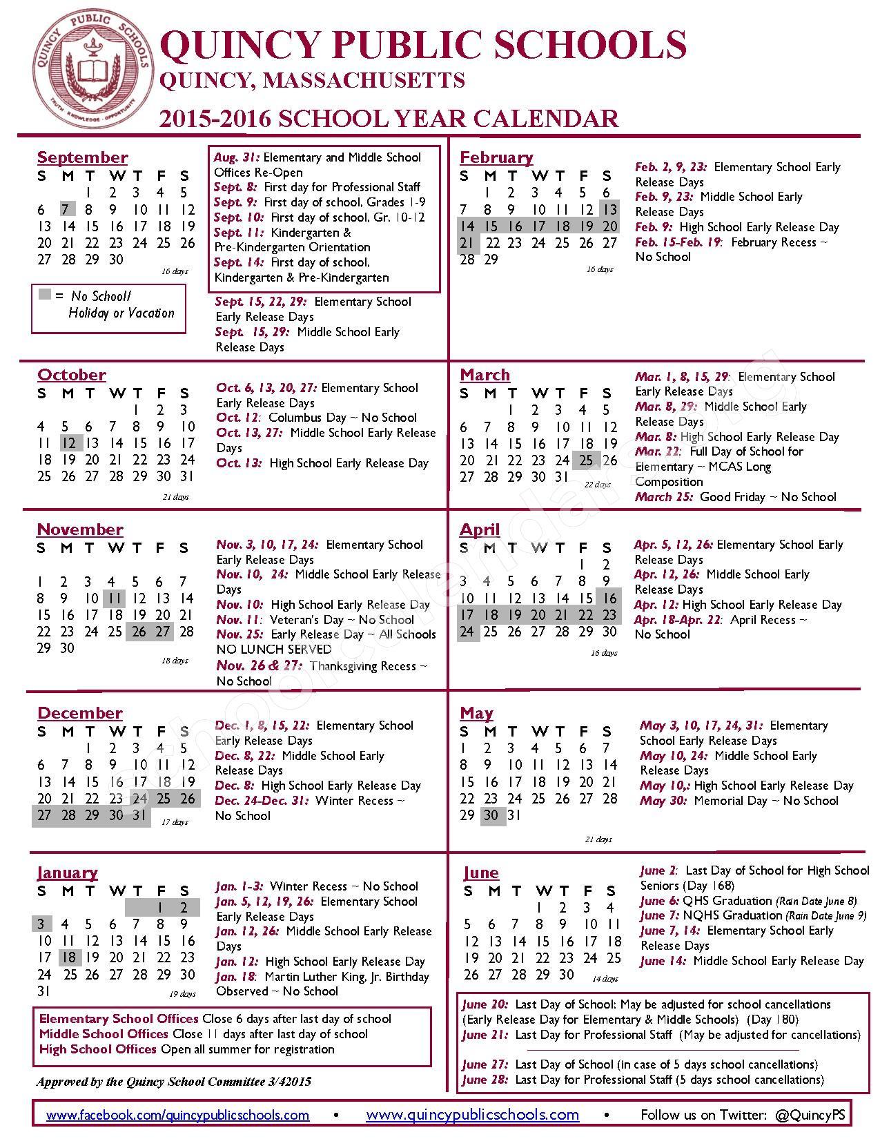 2015 - 2016 School Calendar – Quincy Public Schools – page 1