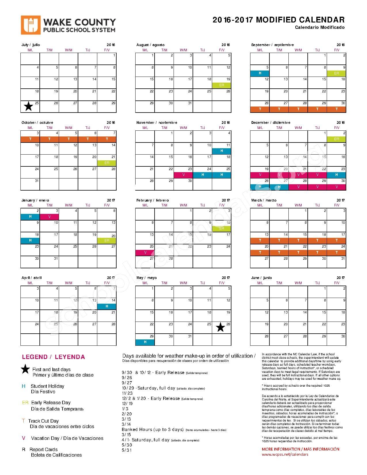 Wake County School Calendar 2017