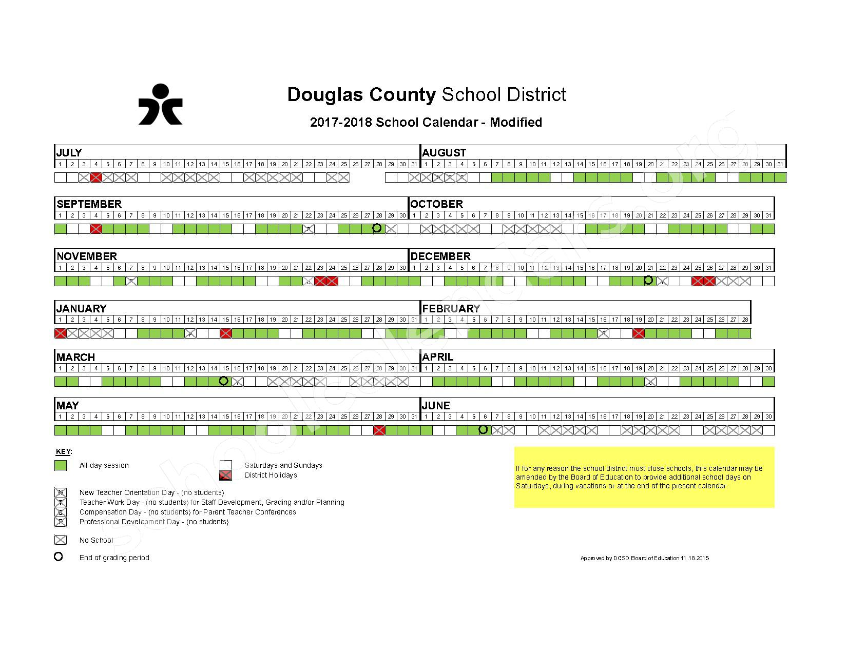 2017 - 2018 Modified School Calendar – Douglas County School District – page 1