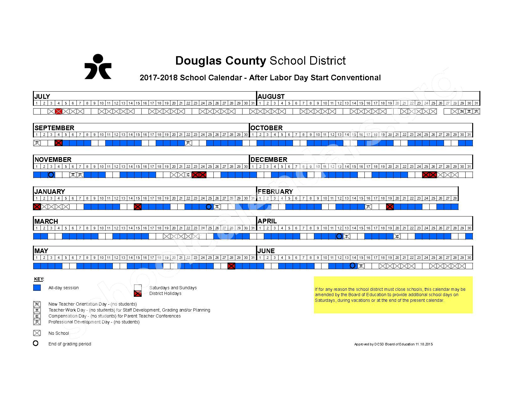 2017 - 2018 Conventional After Labor Day Start Calendar – Douglas County School District – page 1