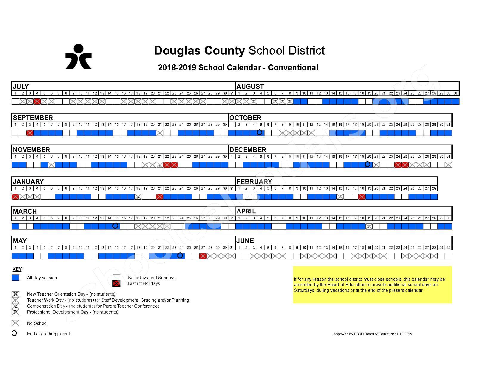 2018 - 2019 Conventional Calendar – Douglas County School District – page 1