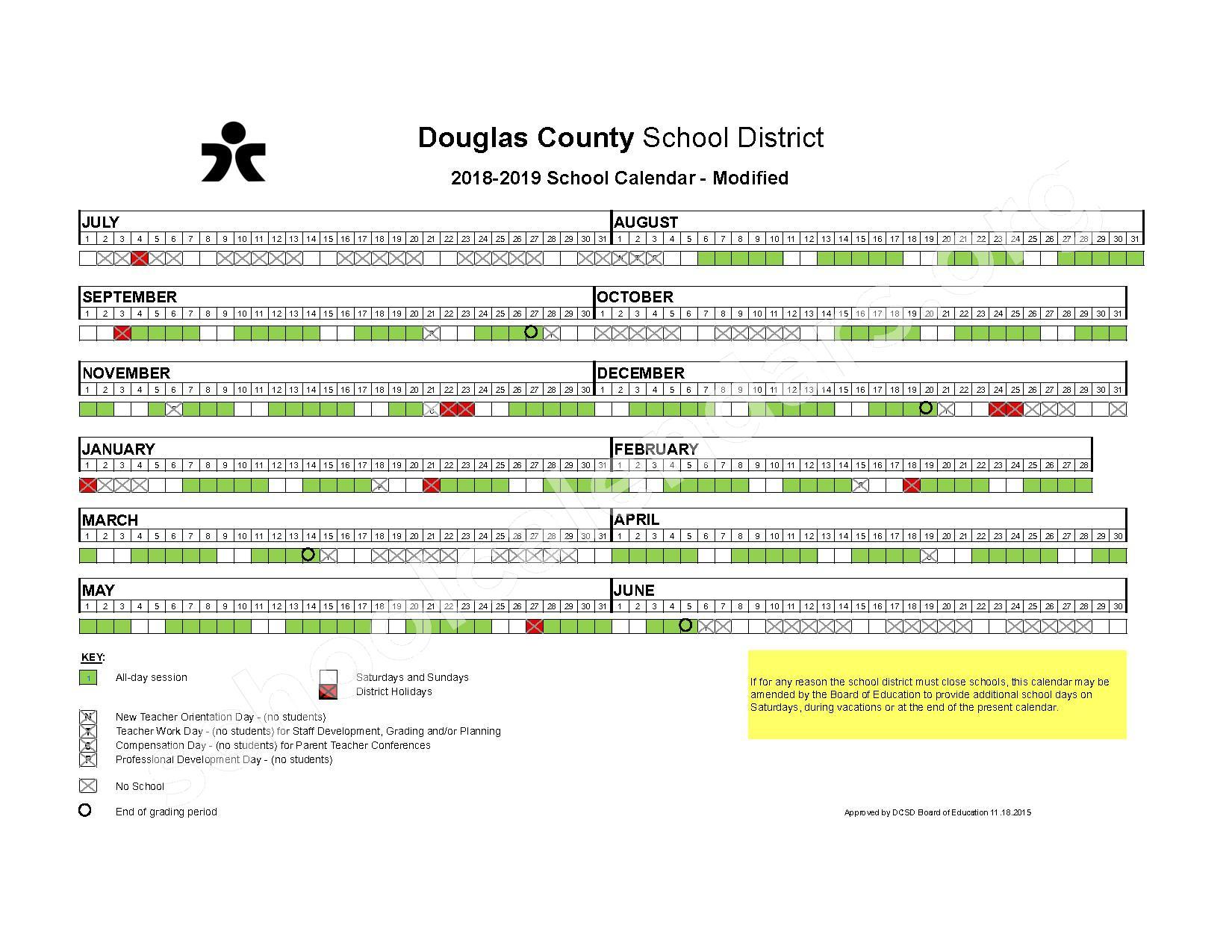 2018 - 2019 Modified Calendar – Douglas County School District – page 1