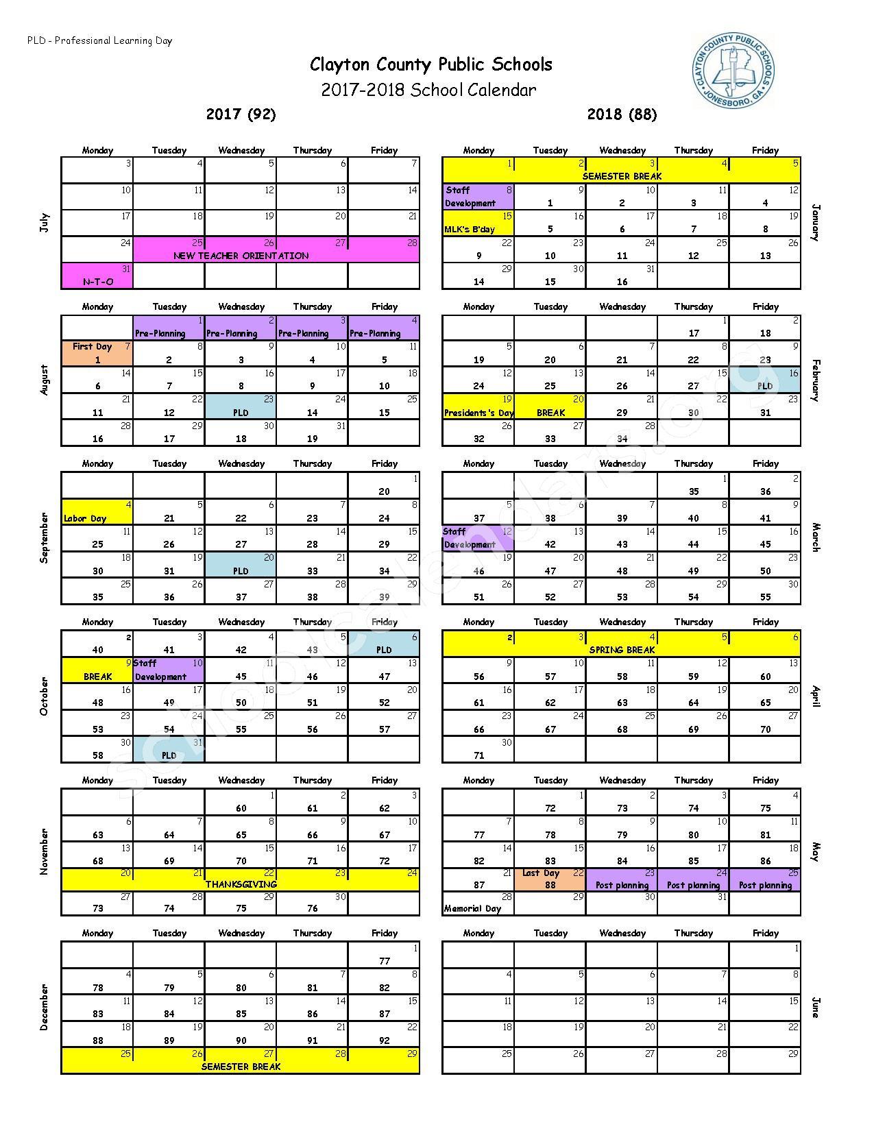 2017 - 2018 School Calendar – Clayton County School District – page 1