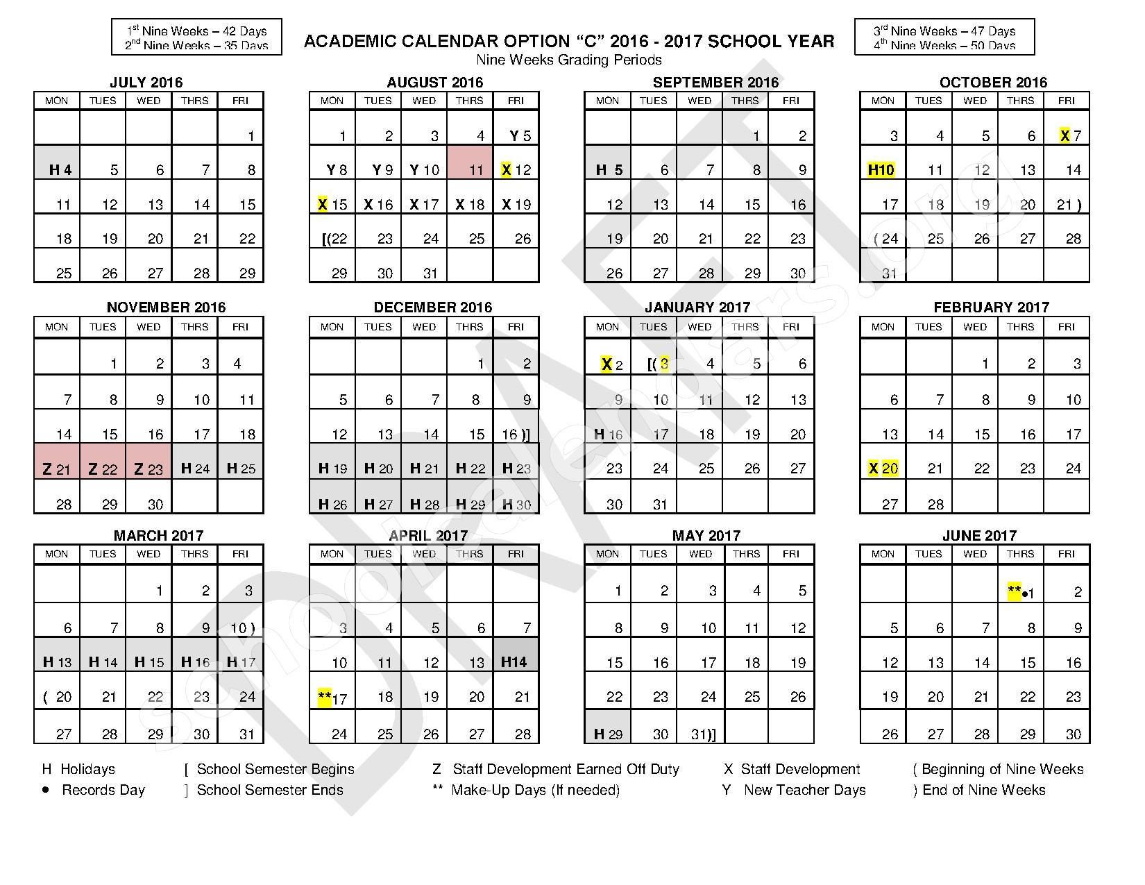 Texas School Calendar 2017