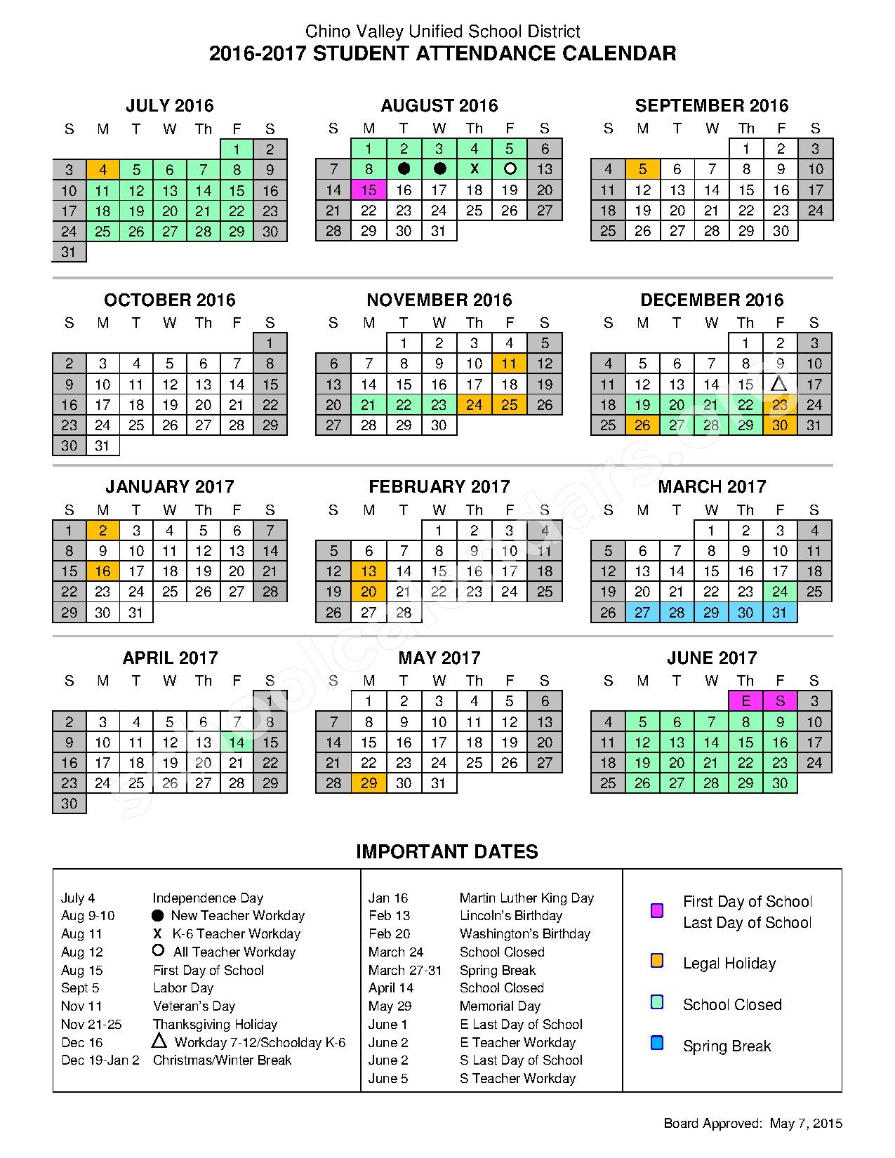 Calendar Dates : Important dates calendar chino valley